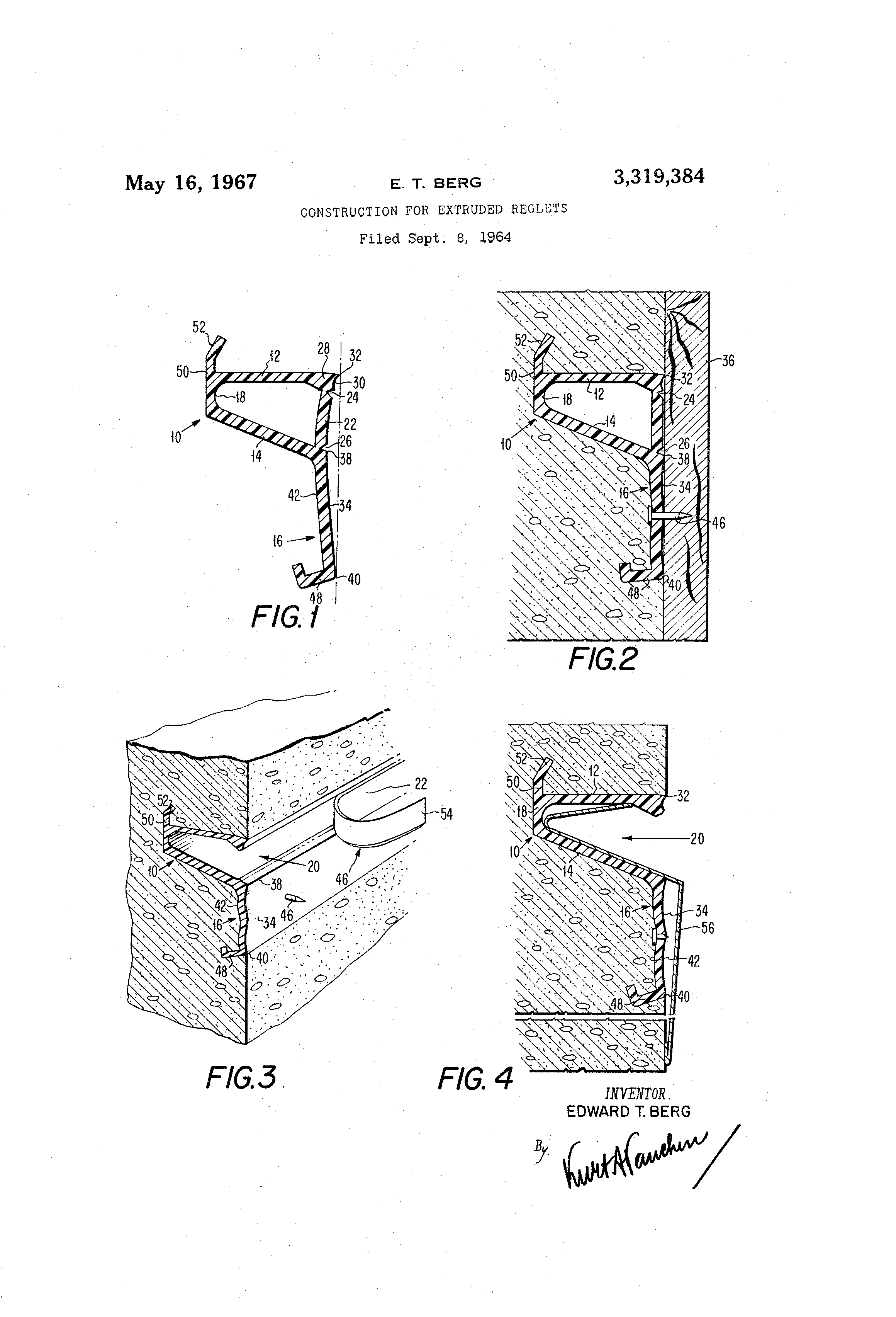 Patent Us3319384 Construction For Extruded Reglets
