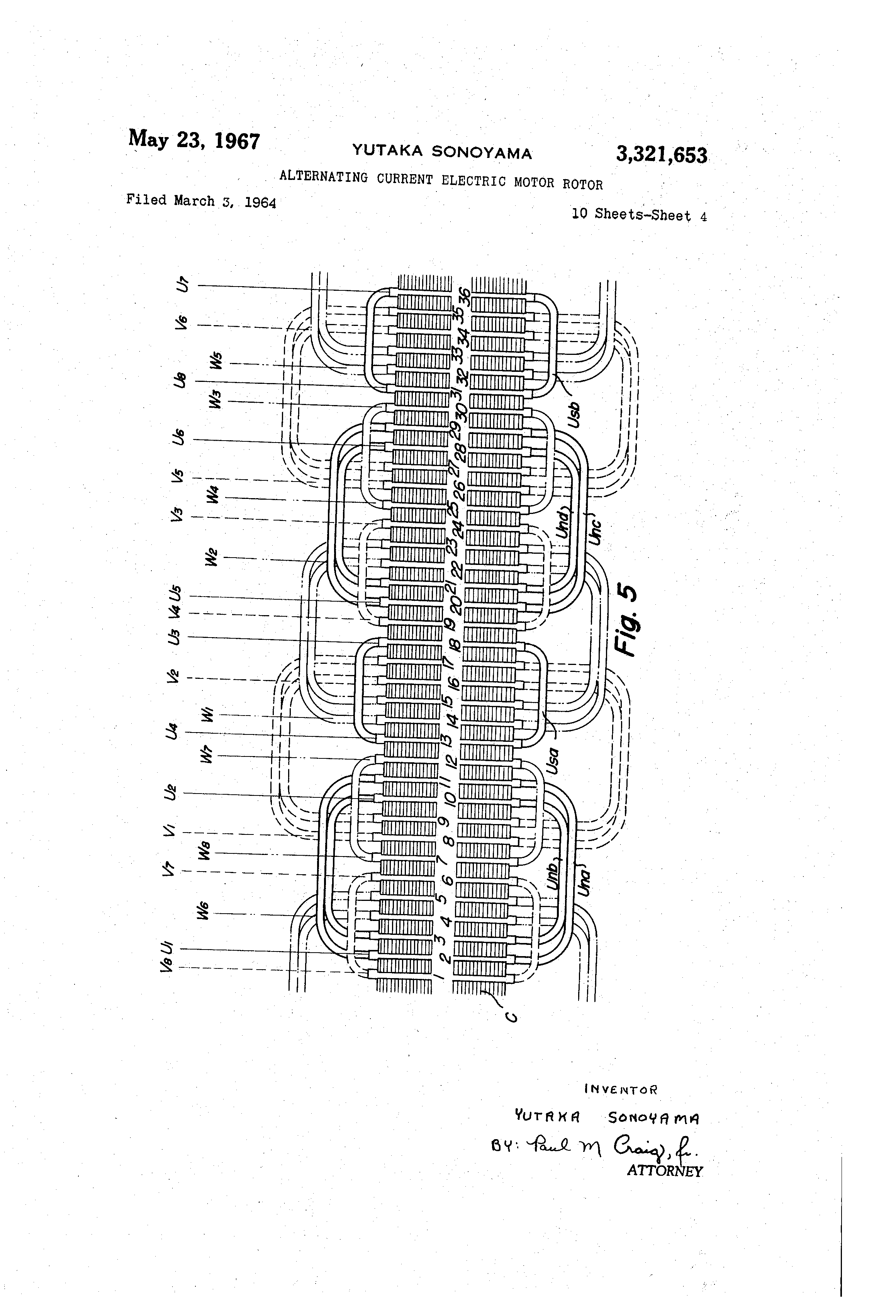 Patent Us3321653 Alternating Current Electric Motor