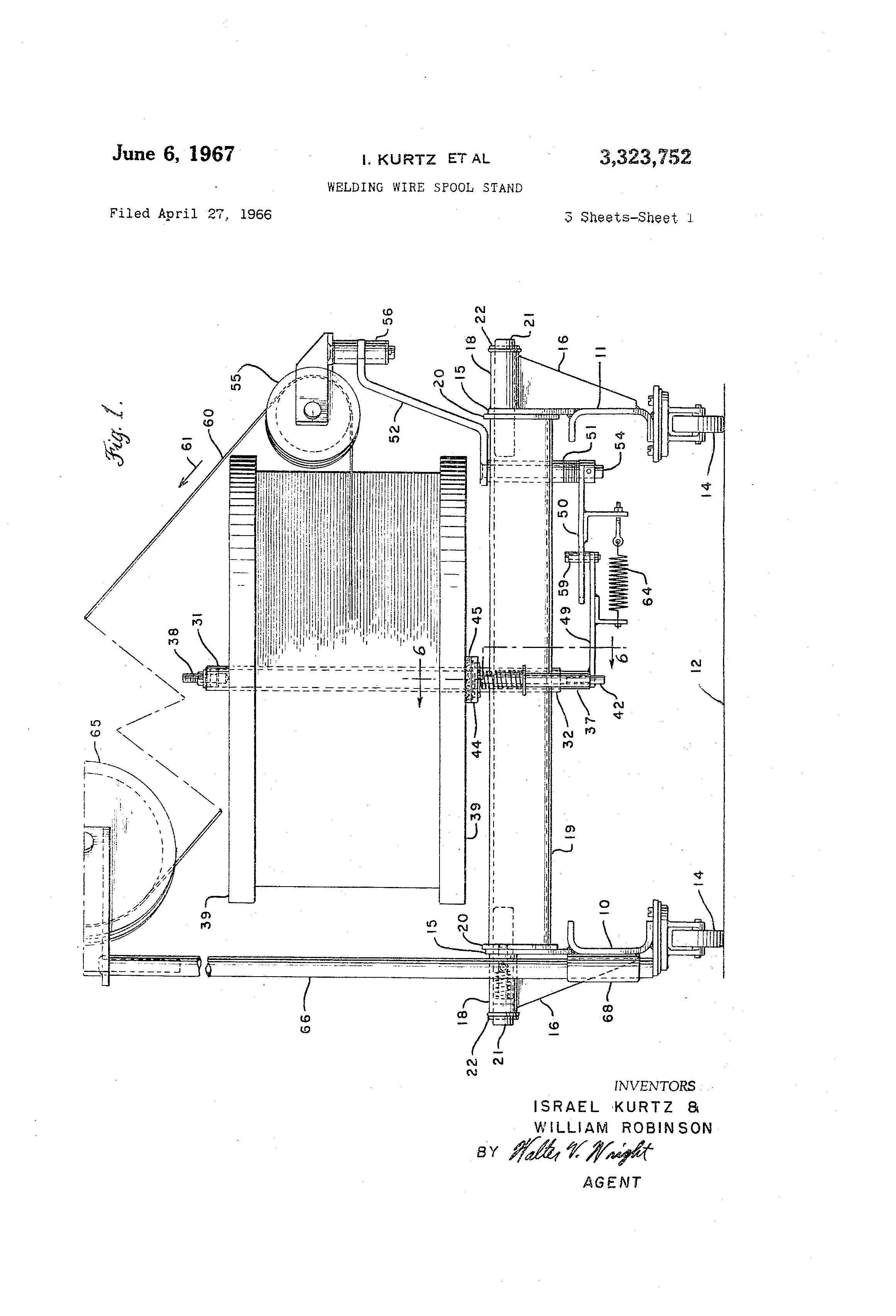 Patent US3323752 - Welding wire spool stand - Google Patents