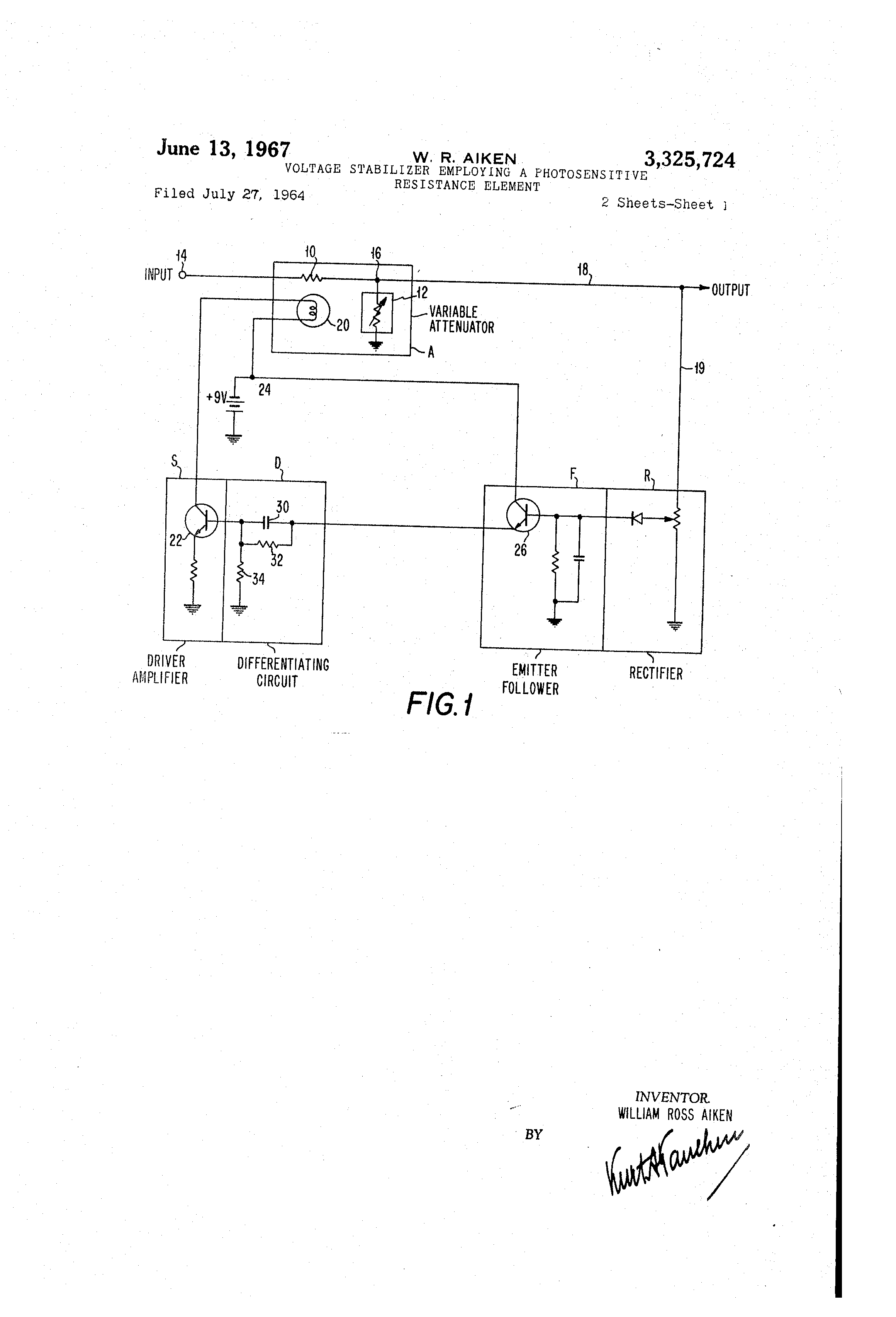 Patent Us3325724 Voltage Stabilizer Employing A Photosensitive By The Resistor Of This Circuit Is Diagram Drawing