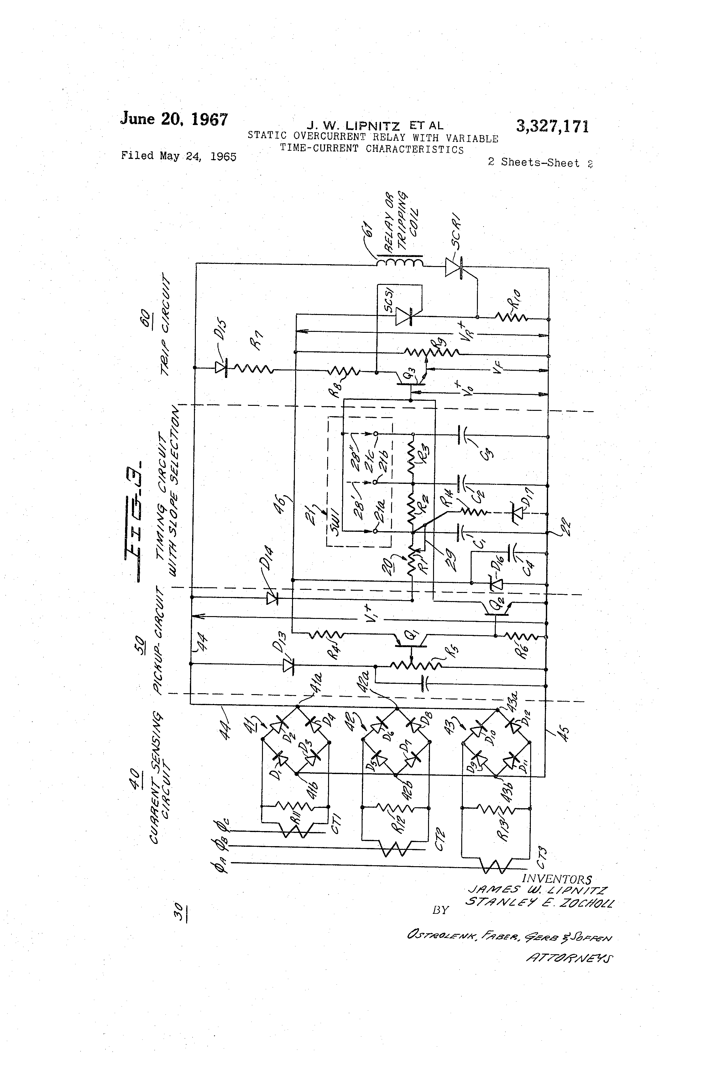 Patent Us3327171 Static Overcurrent Relay With Variable Time Timer Circuit Drawing