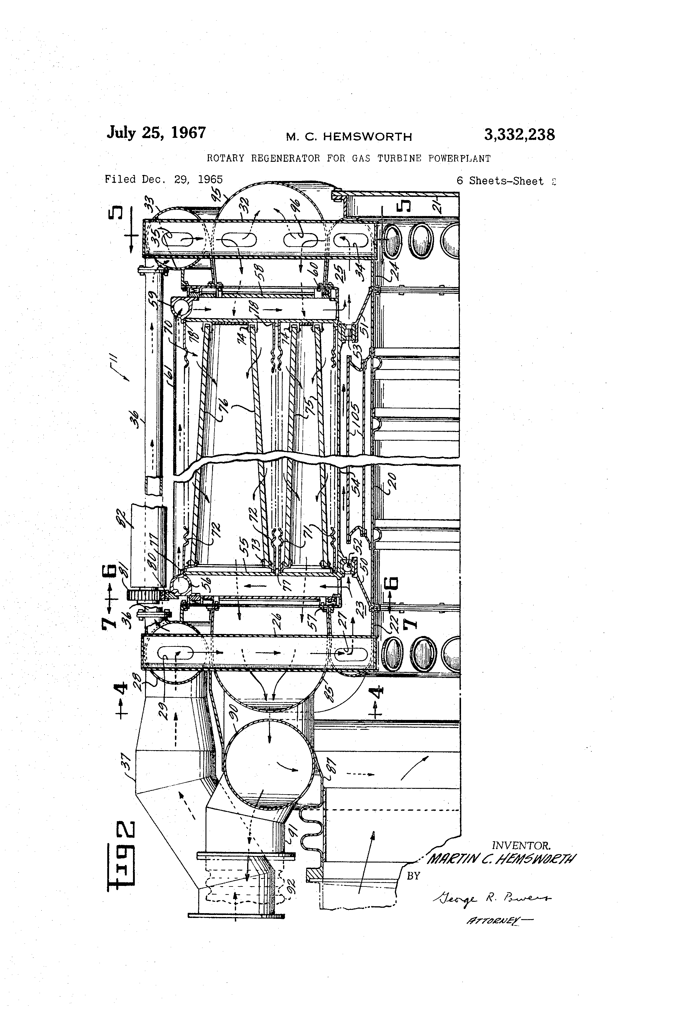 Patent US Rotary regenerator for gas turbine powerplant