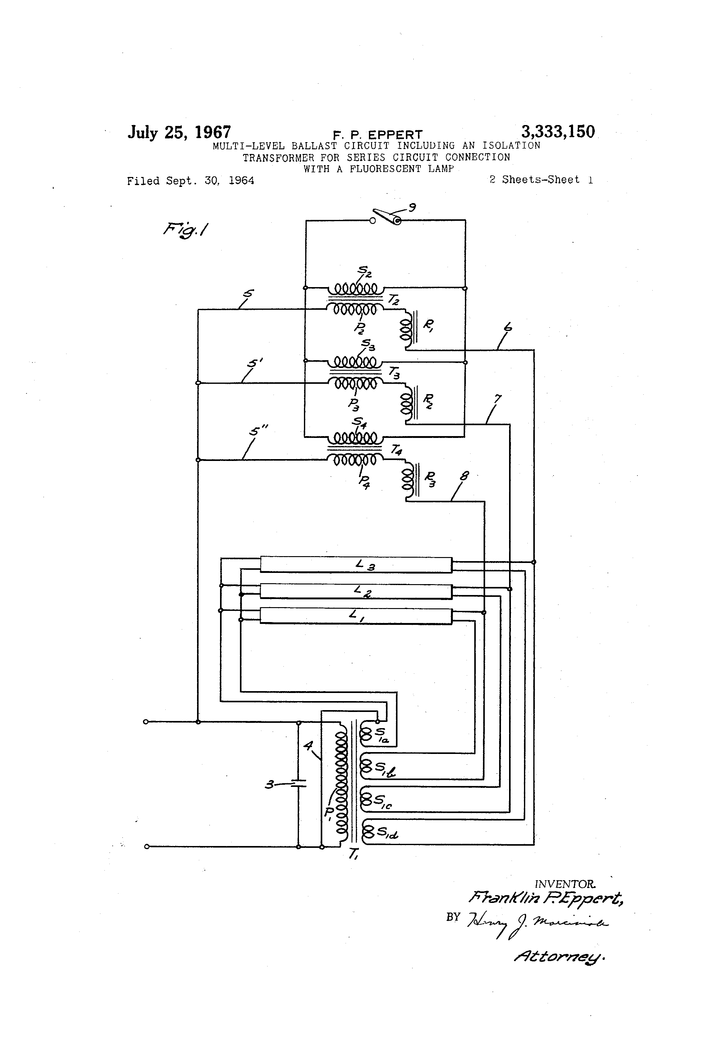 Patent Us3333150 Multi Level Ballast Circuit Including An Isolation Transformer Diagram Drawing