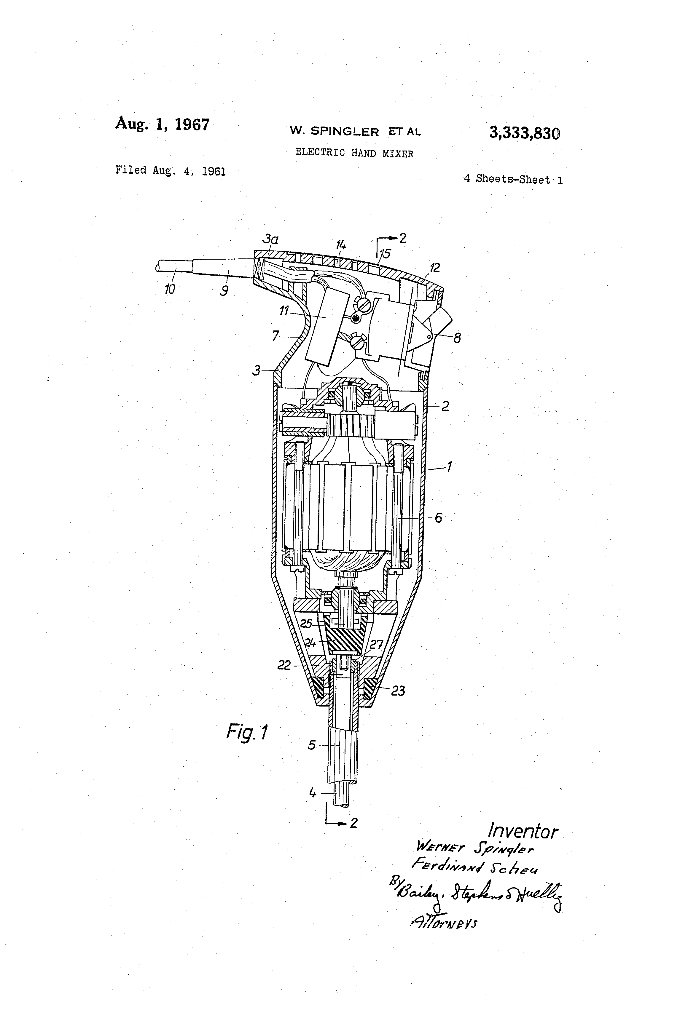 Drawing Hand Mixer ~ Patent us electric hand mixer google patents