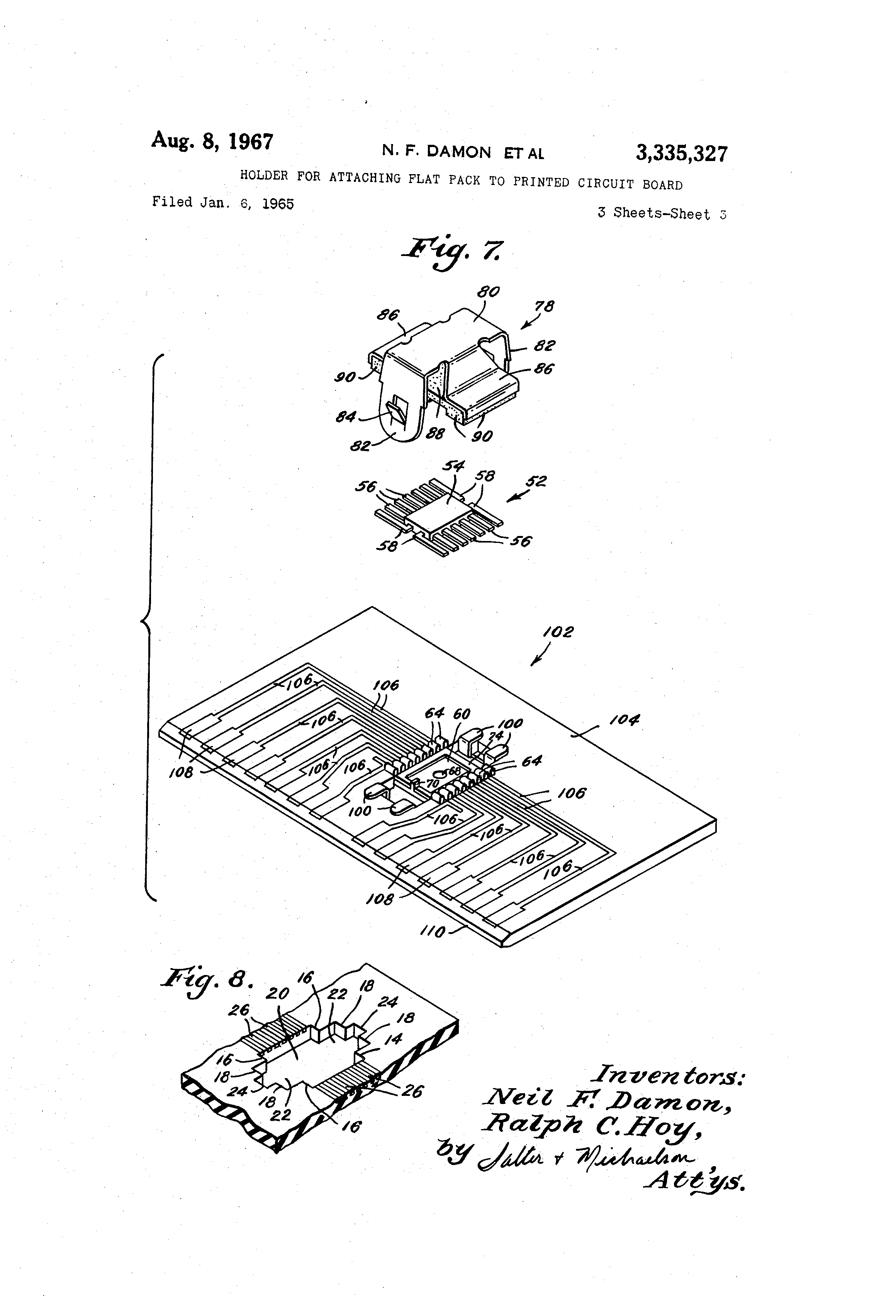 patent us3335327 - holder for attaching flat pack to printed circuit board