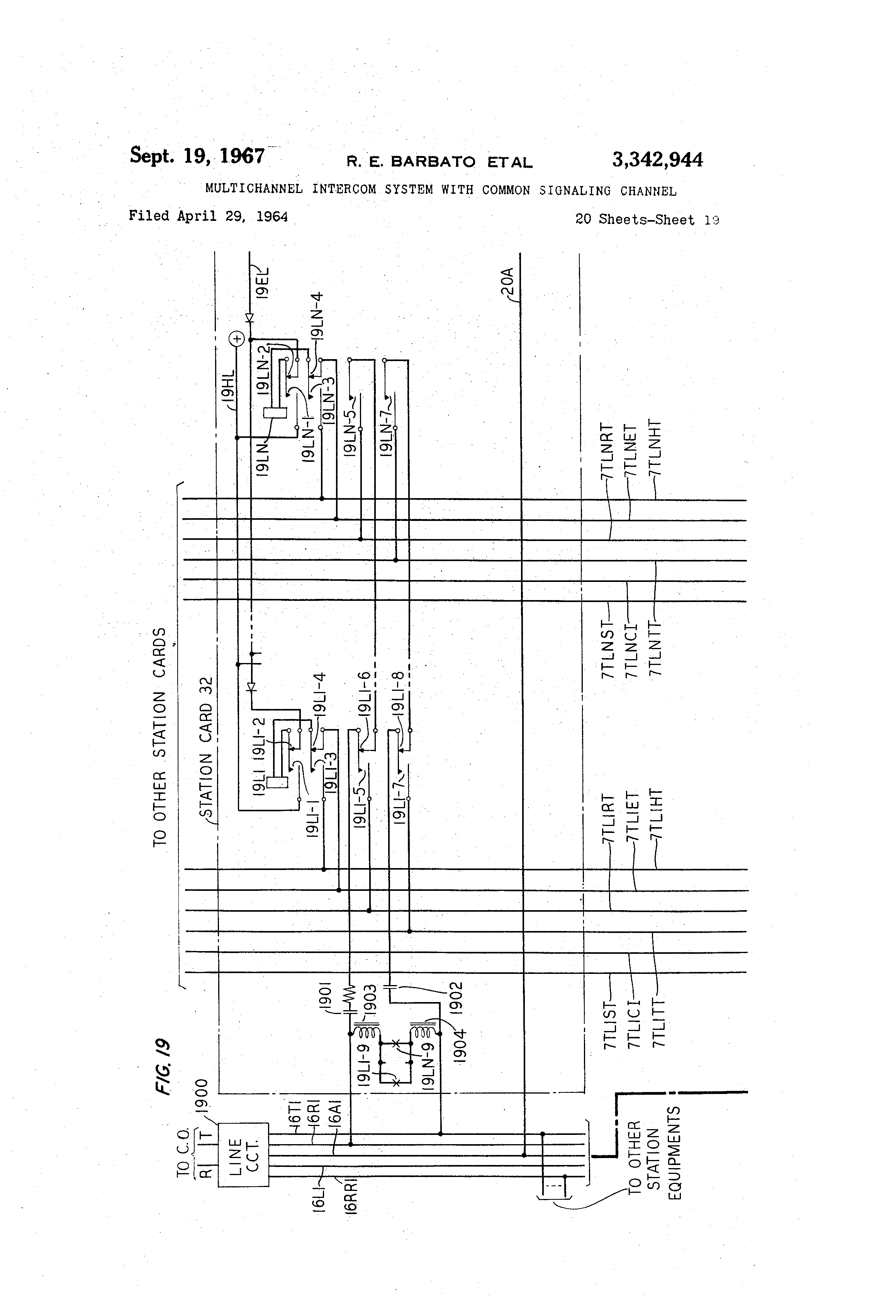 Patent Us3342944 Multichannel Intercom System With Common Intercommunication Circuit Drawing