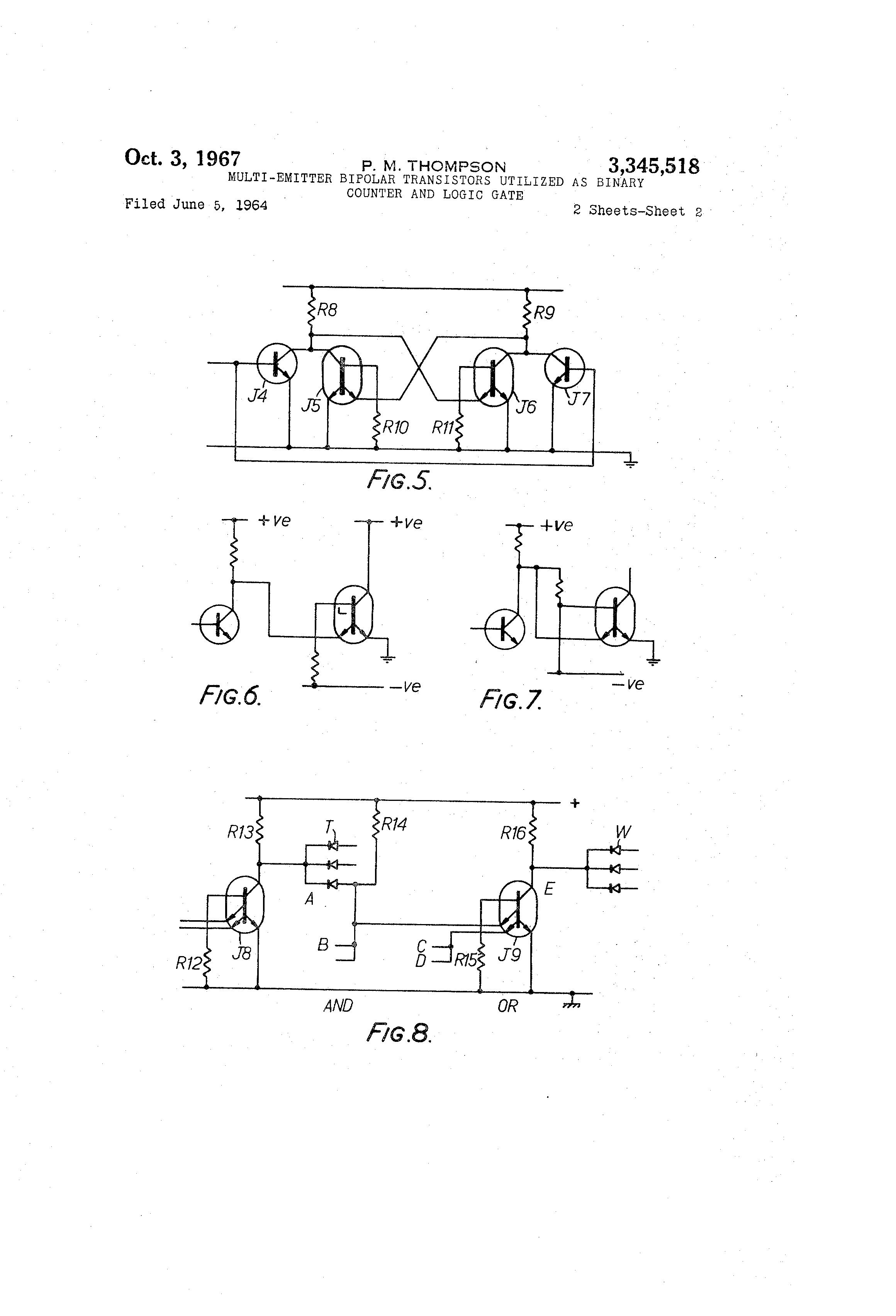 Brevet Us3345518 Multi Emitter Bipolar Transistors Utilized As Logic Diagram And Gate Patent Drawing