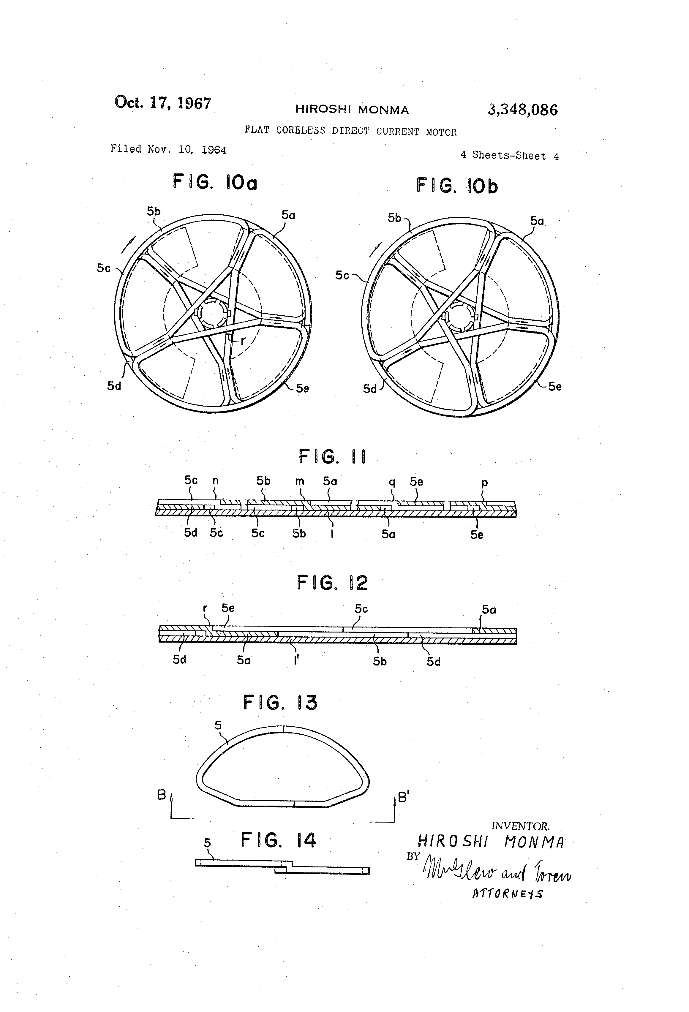 Patent Us3348086 Flat Coreless Direct Current Motor