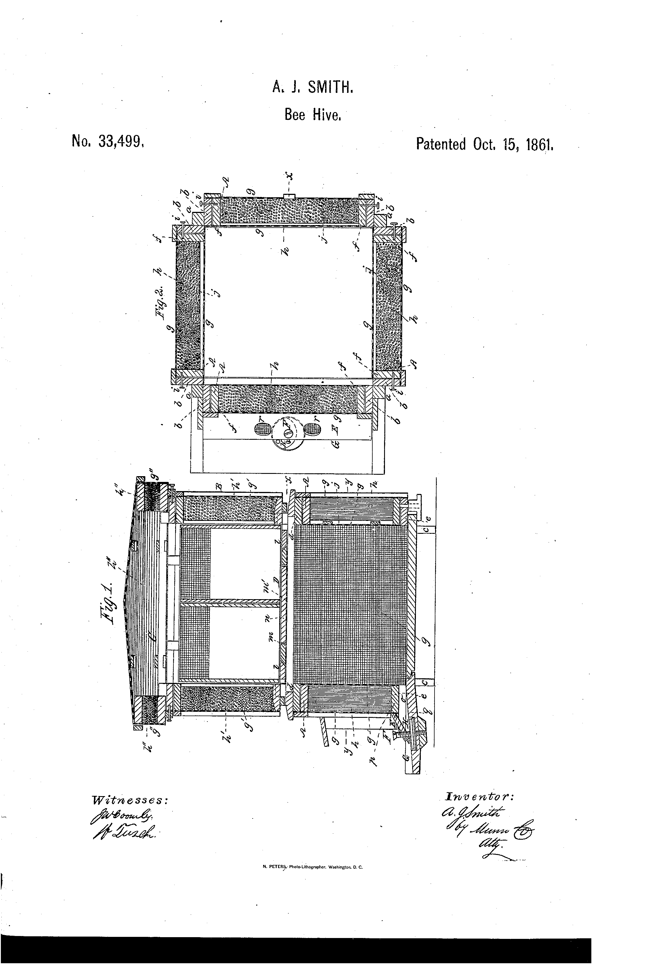 Patent Us33499 Improvement In Bee Hives Google Patents Beehive Phone Wiring Diagram Drawing