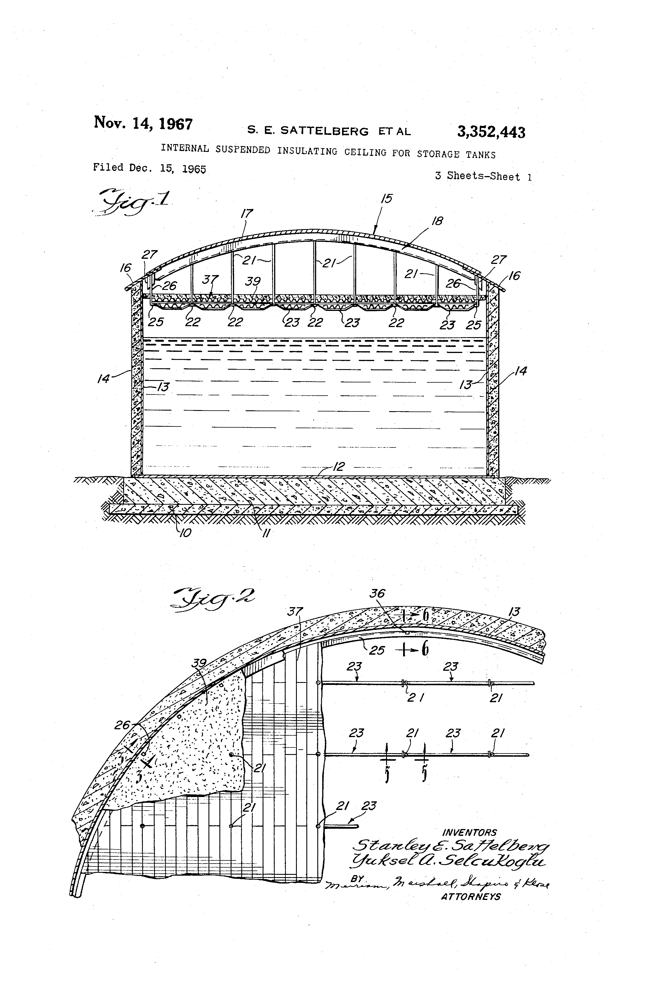 Patent Us3352443 Internal Suspended Insulating Ceiling