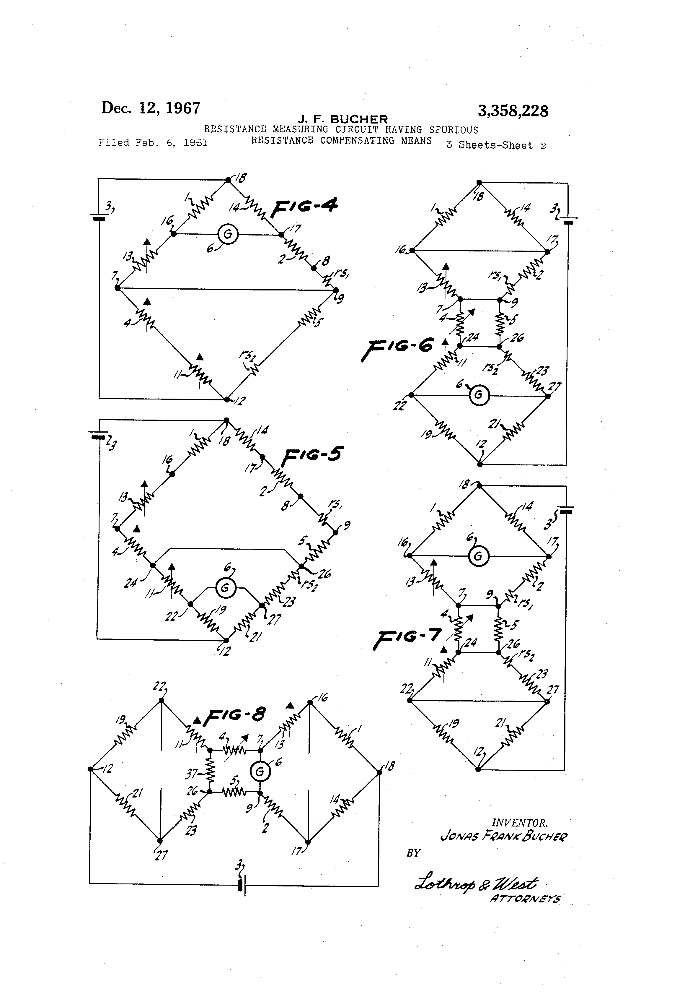 Patent Us3358228 Resistance Measuring Circuit Having Spurious Measurement Diagram Drawing