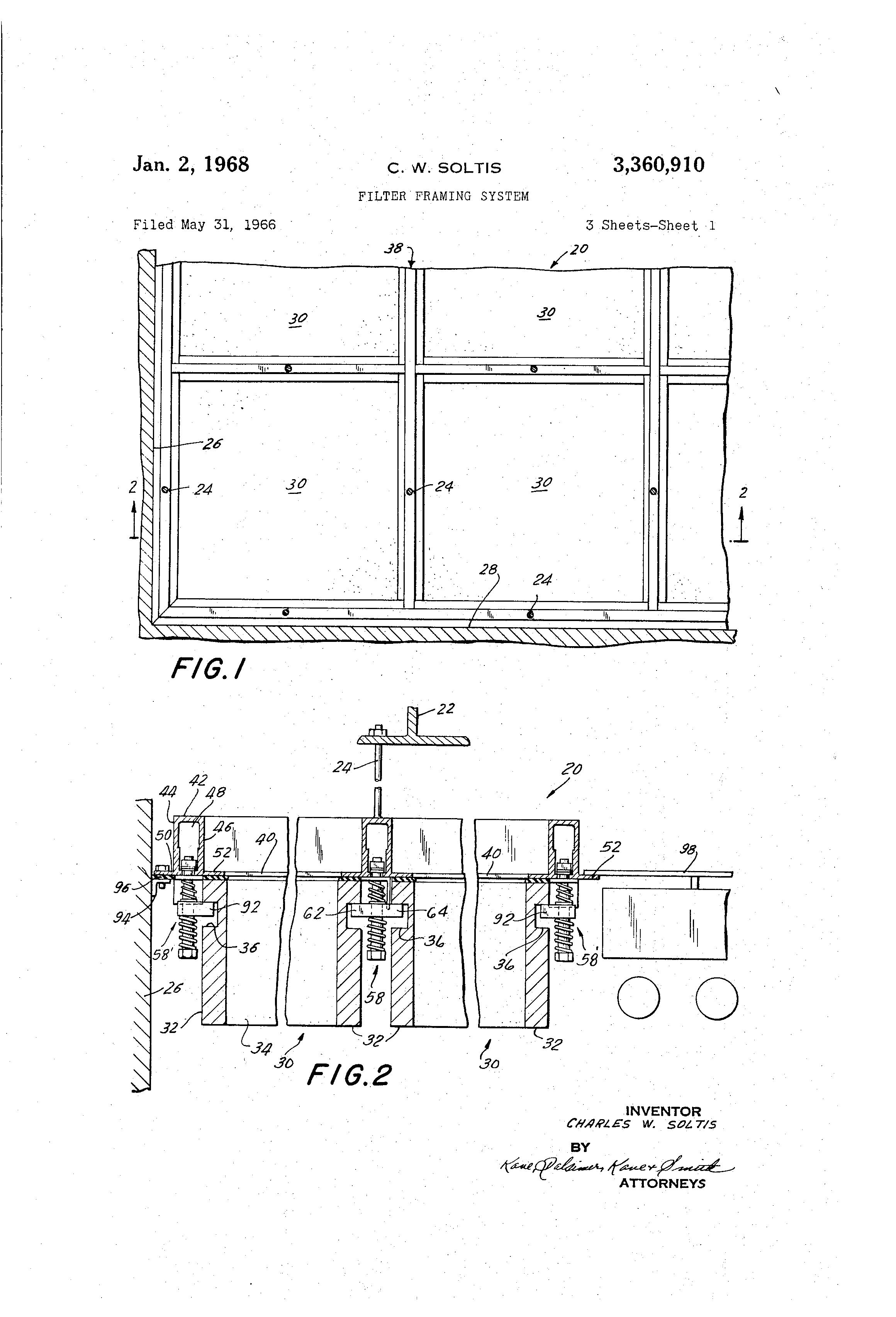 Patent US3360910 - Filter framing system - Google Patents