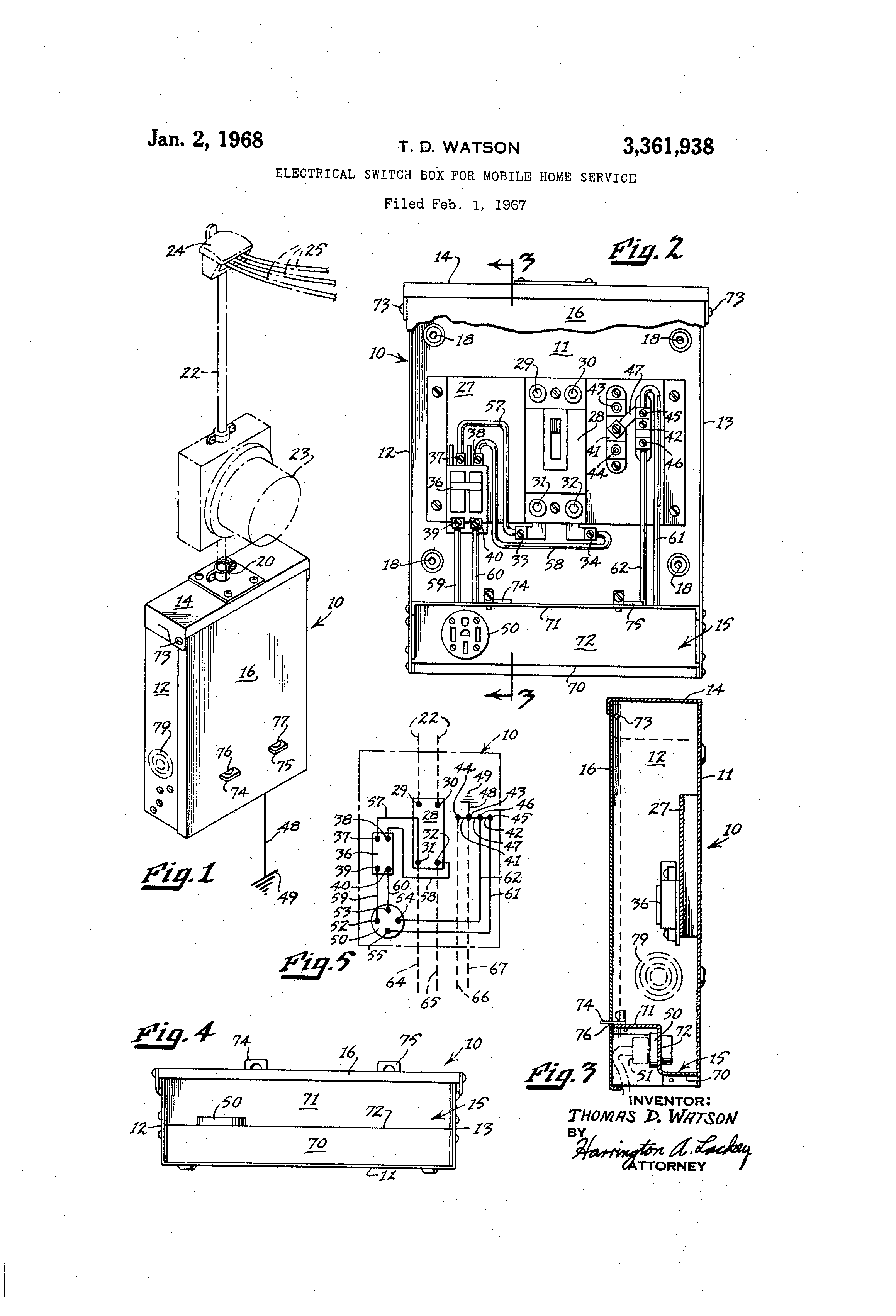 patent us3361938 - electrical switch box for mobile home service