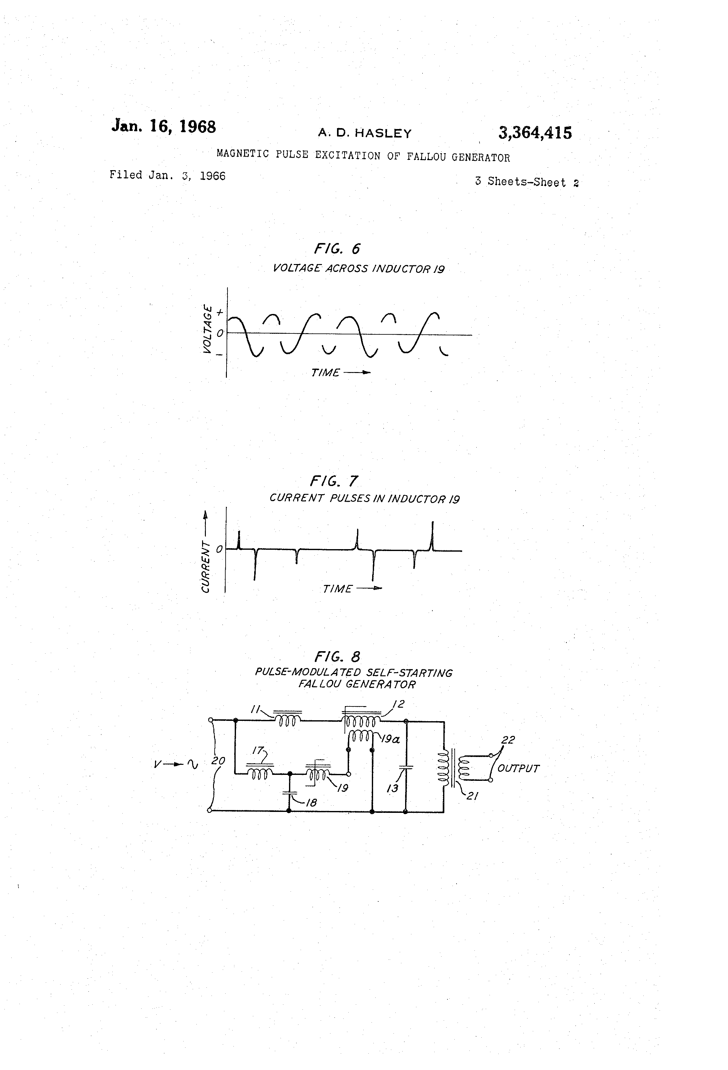 Patent Us3364415 Magnetic Pulse Excitation Of Fallou Generator Generators Electronic Schematics Http Www Drawing