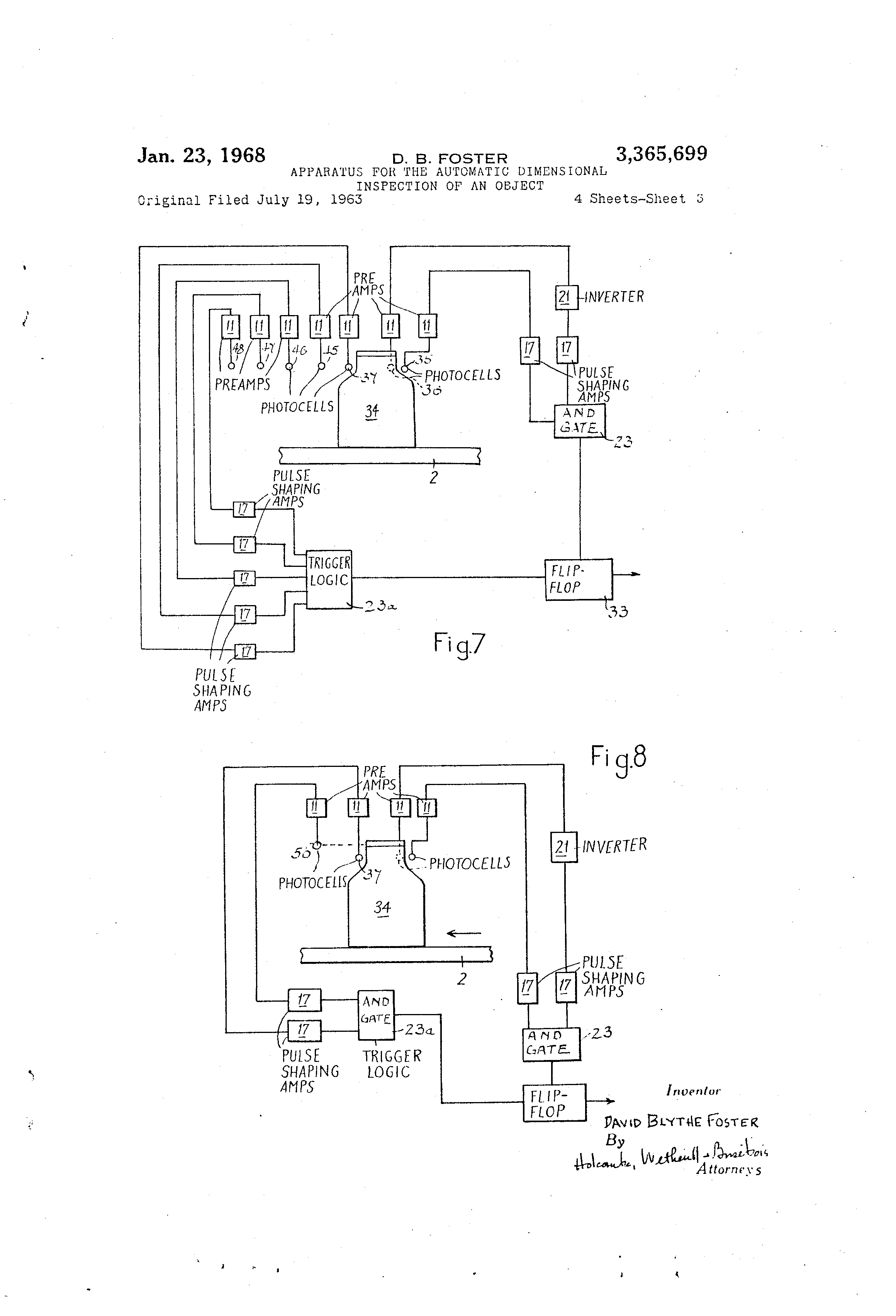 Patent Us3365699 Apparatus For The Automatic Dimensional Photocells Amplifiers Circuit Schematic Diagram Drawing