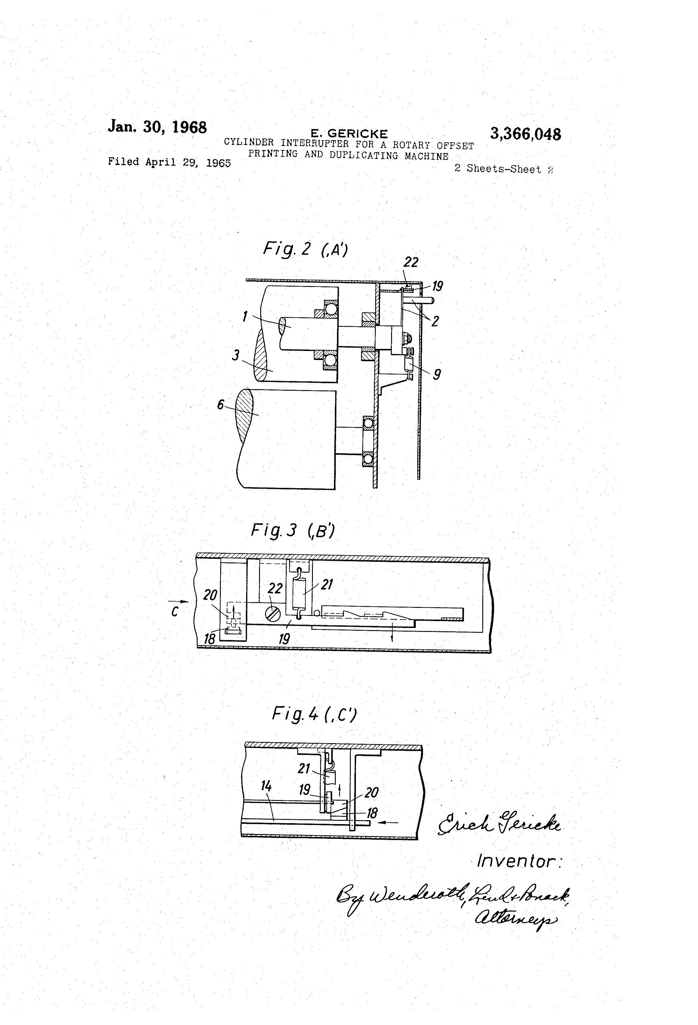 Patent Us3366048 Cylinder Interrupter For A Rotary Offset Printing Diagram Press Drawing