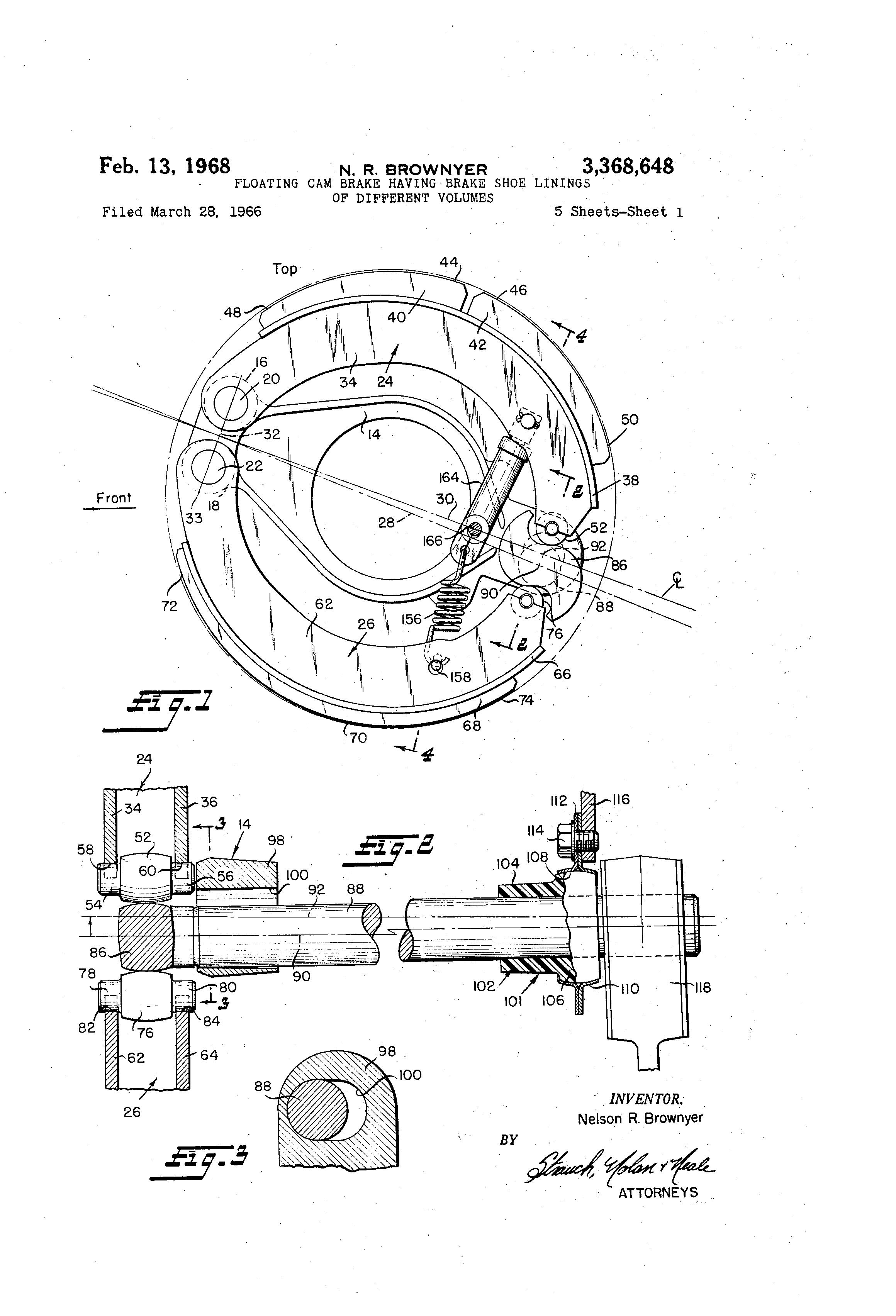 Brake Lining Draw : Patent us floating cam brake having shoe
