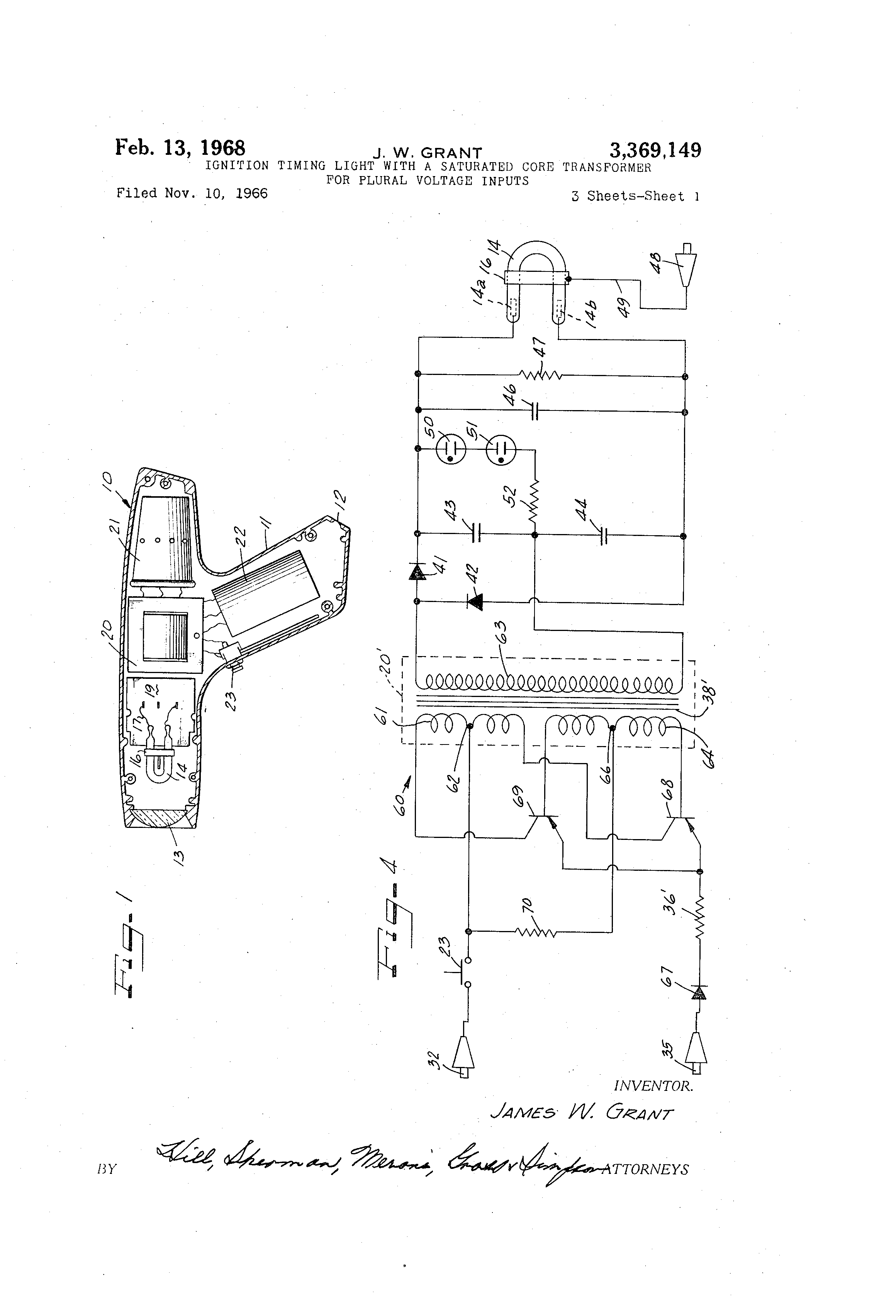 Brevet Us3369149 Ignition Timing Light With A Saturated Core Circuit Diagram Together Pool Transformer Wiring Patent Drawing