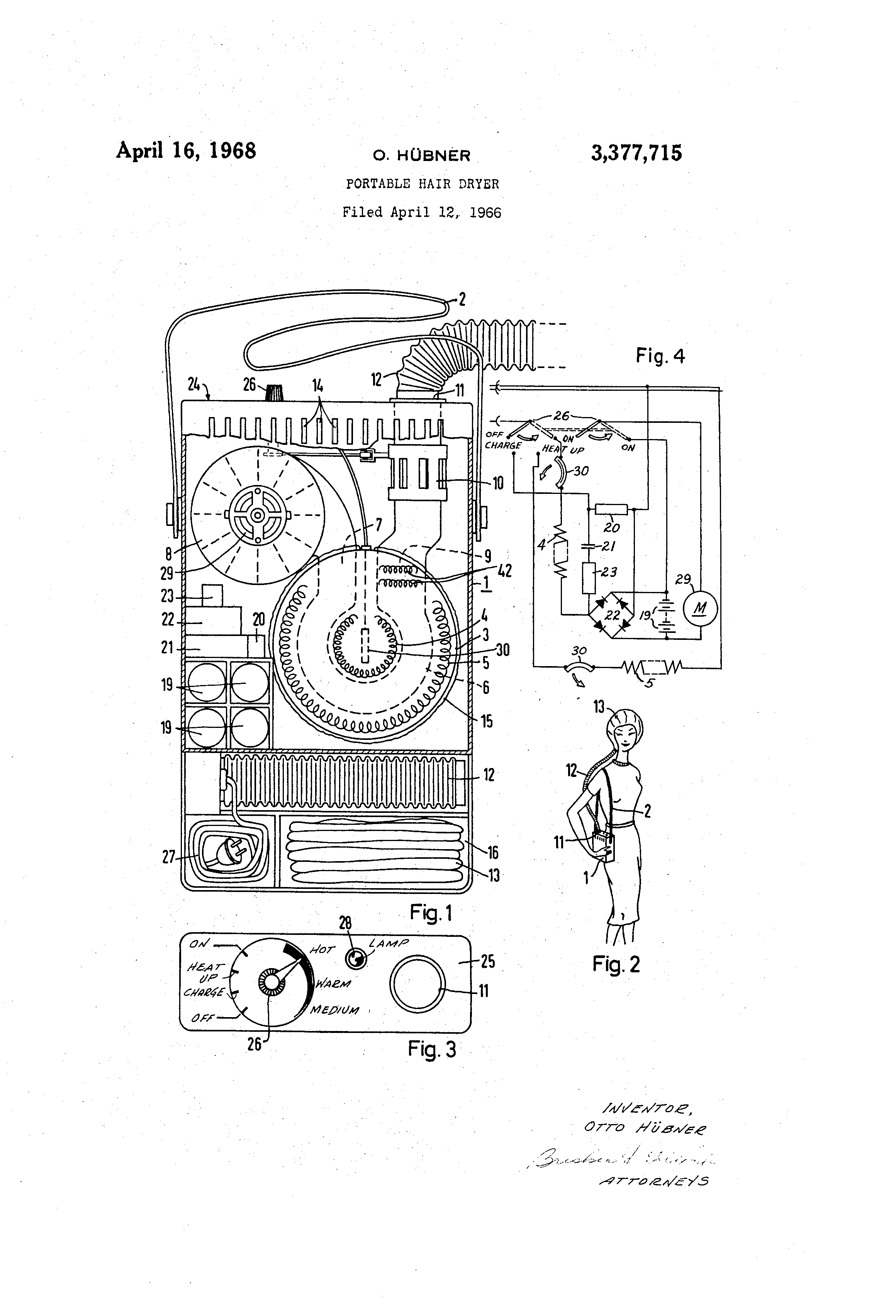 patent us3377715 - portable hair dryer