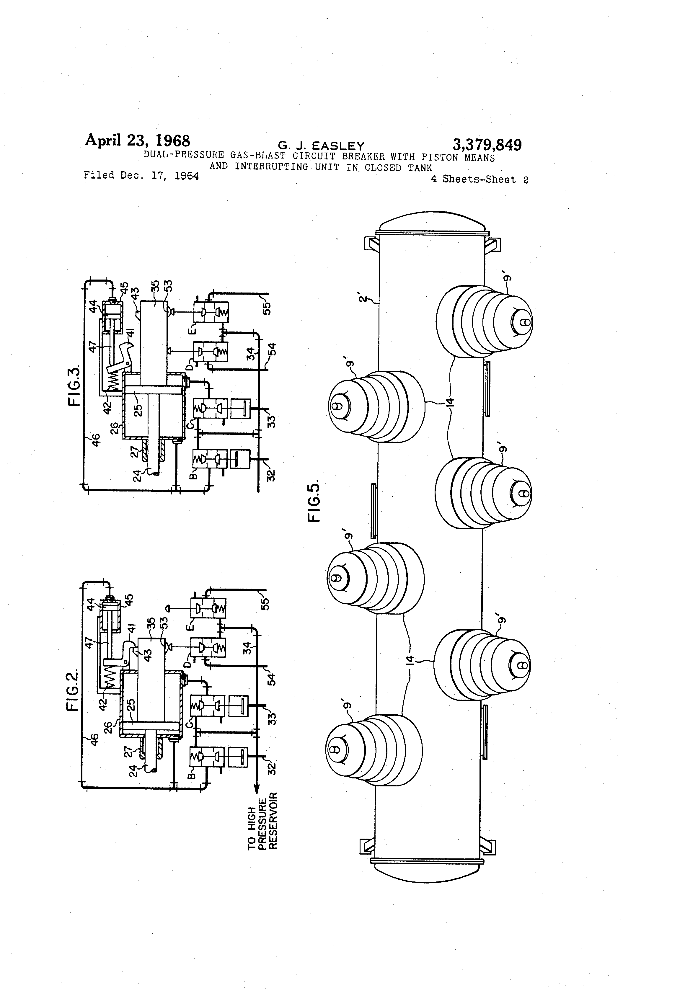 Patent Us3379849 Dual Pressure Gas Blast Circuit Breaker With Tripping What To Do Now Easley Electric Drawing