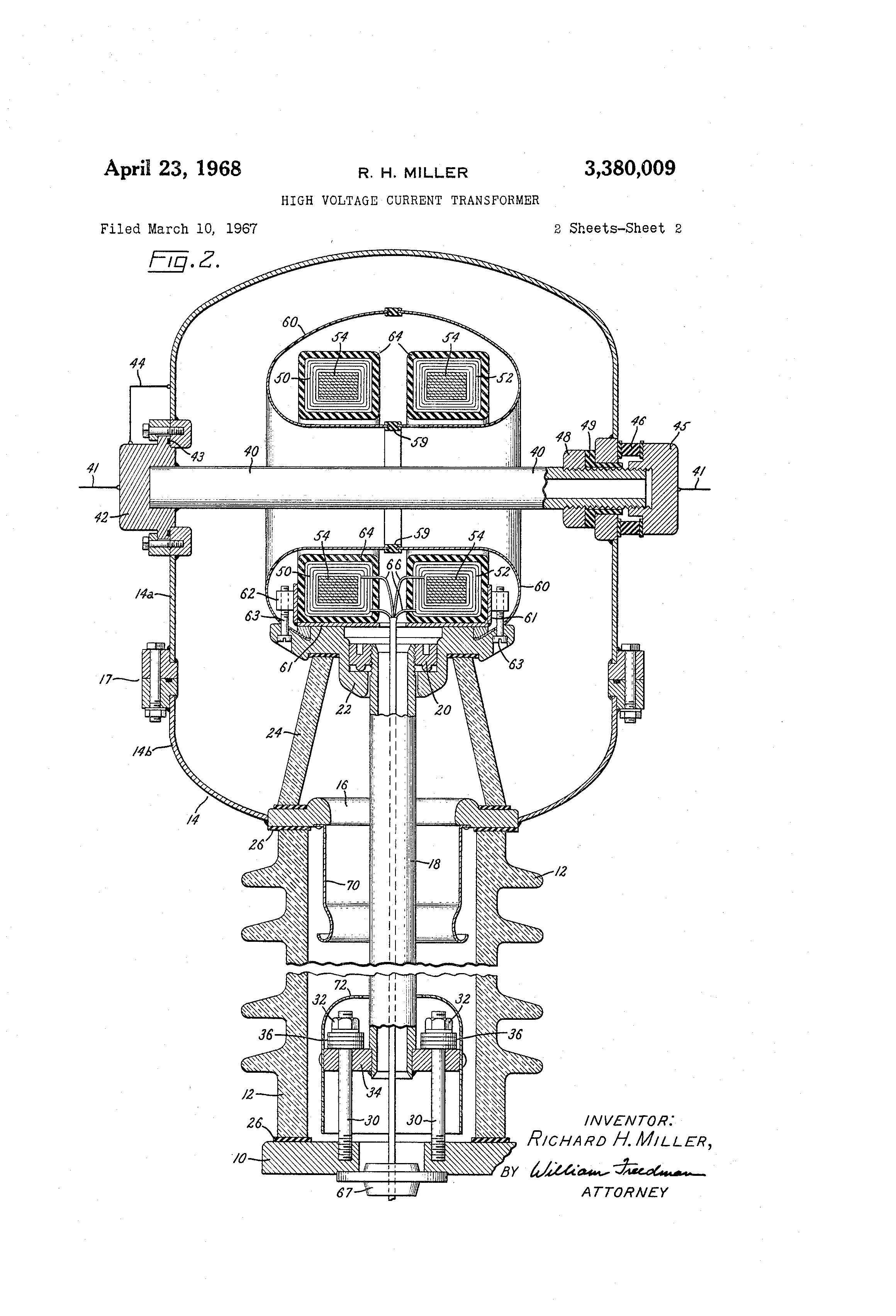 patent us3380009 - high voltage current transformer