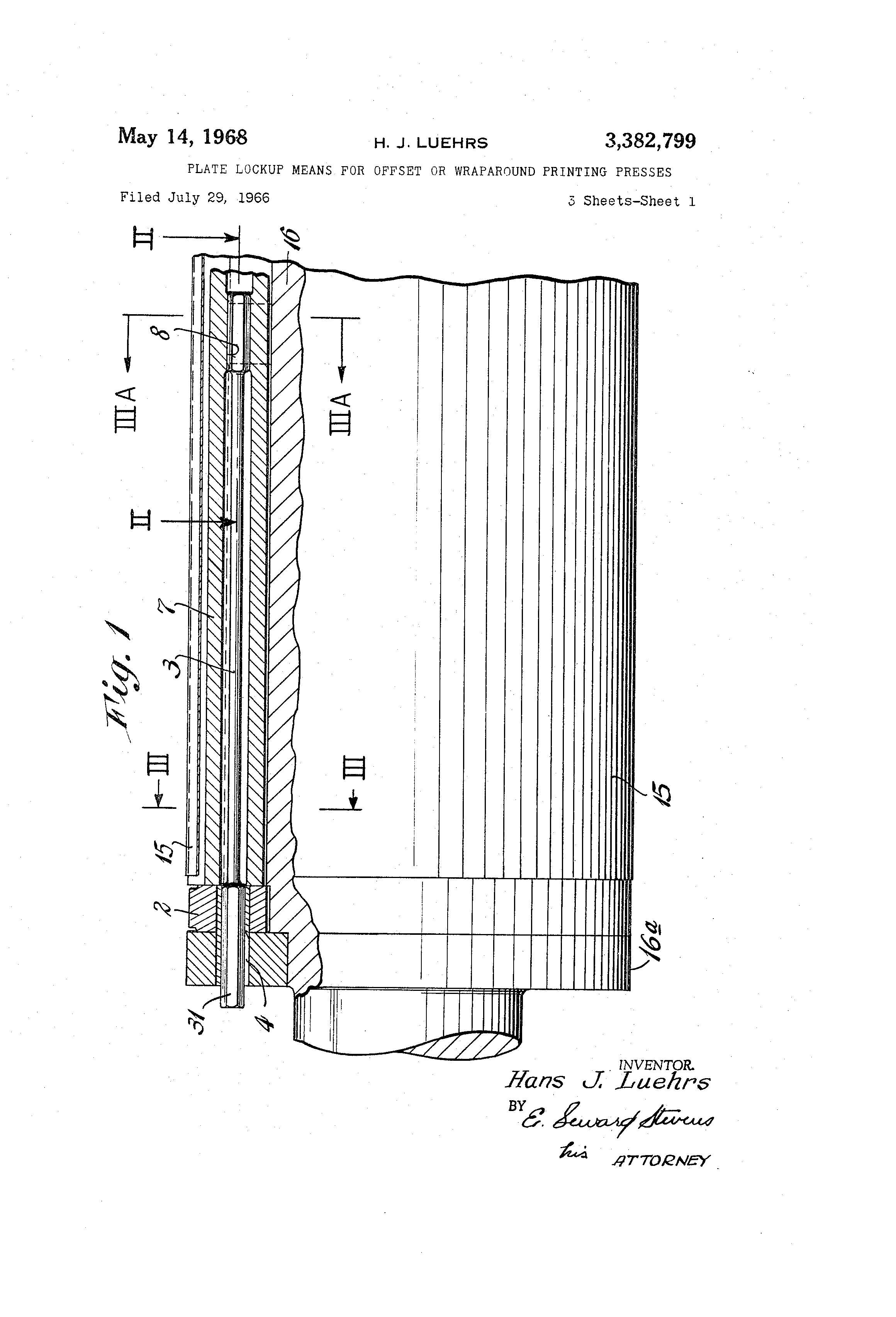 Patent Us3382799 Plate Lockup Means For Offset Or Wraparound Printing Diagram Press Drawing