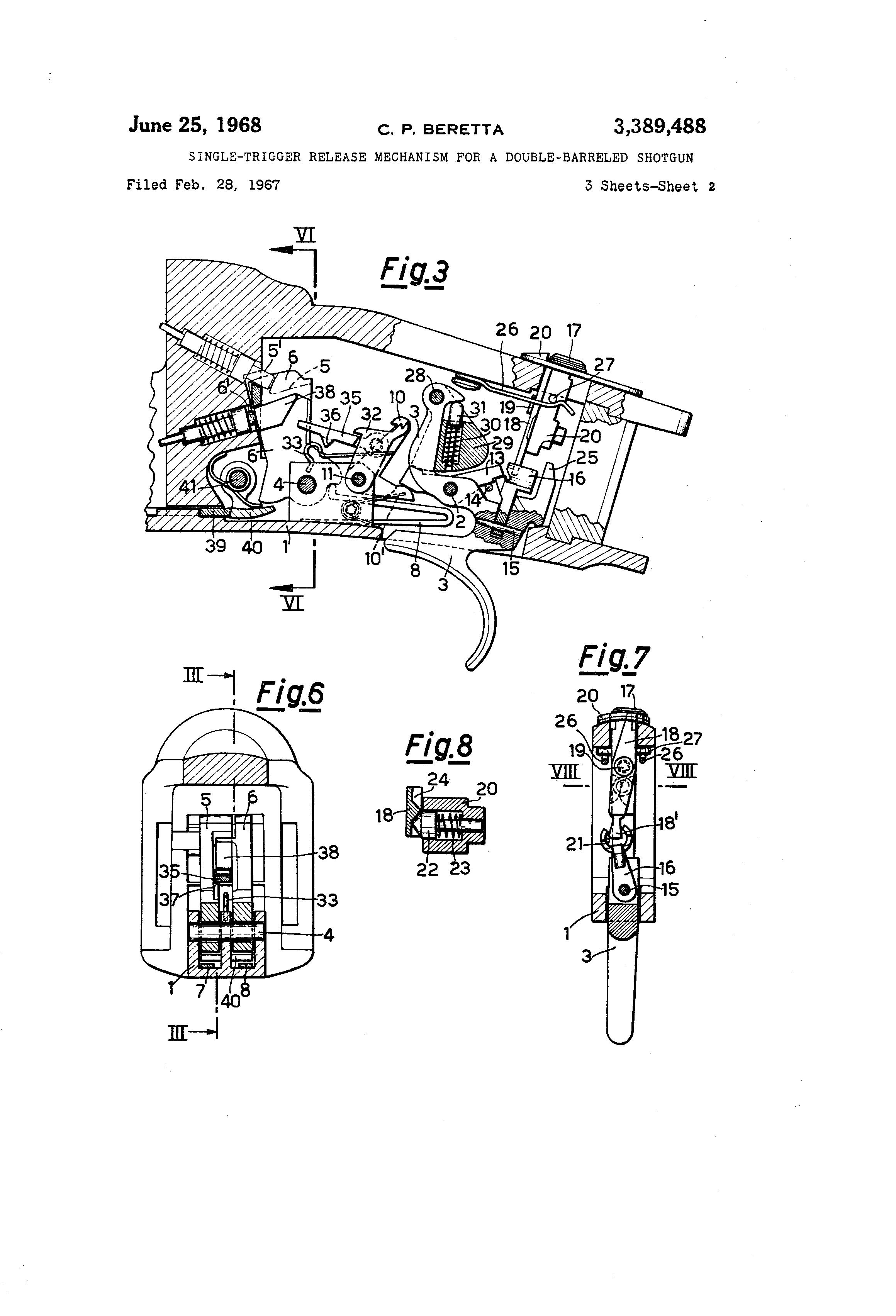 Patent Us3389488 - Single-trigger Release Mechanism For A Double-barreled Shotgun