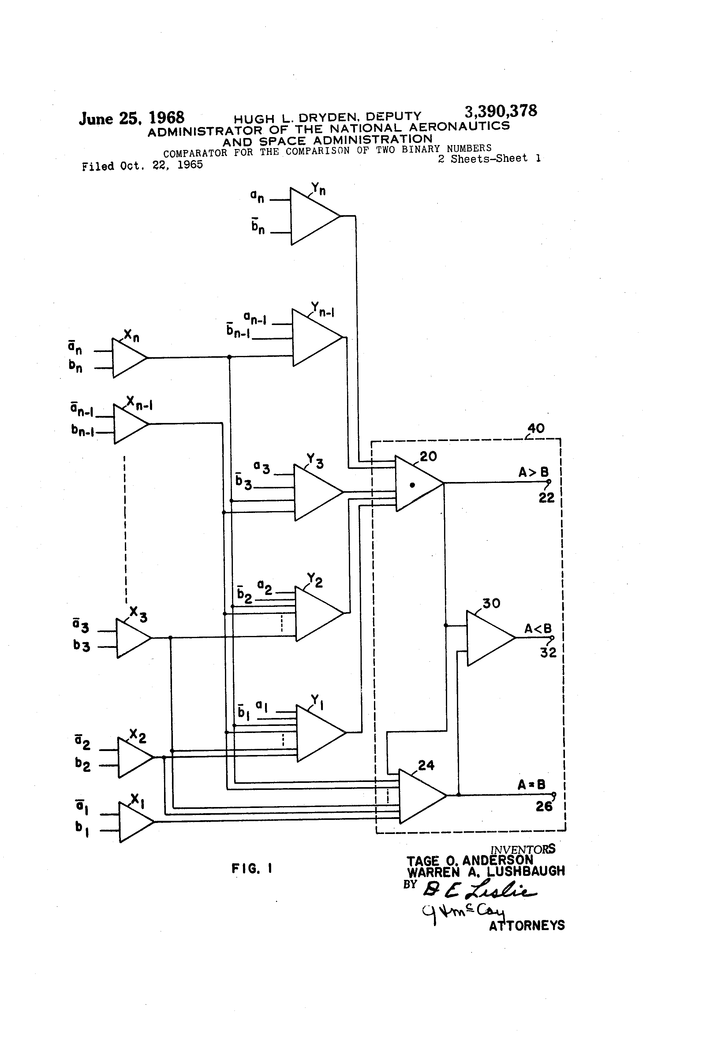 Patent Us3390378 Comparator For The Comparison Of Two Binary 3 Bit Magnitude Logic Diagram Drawing