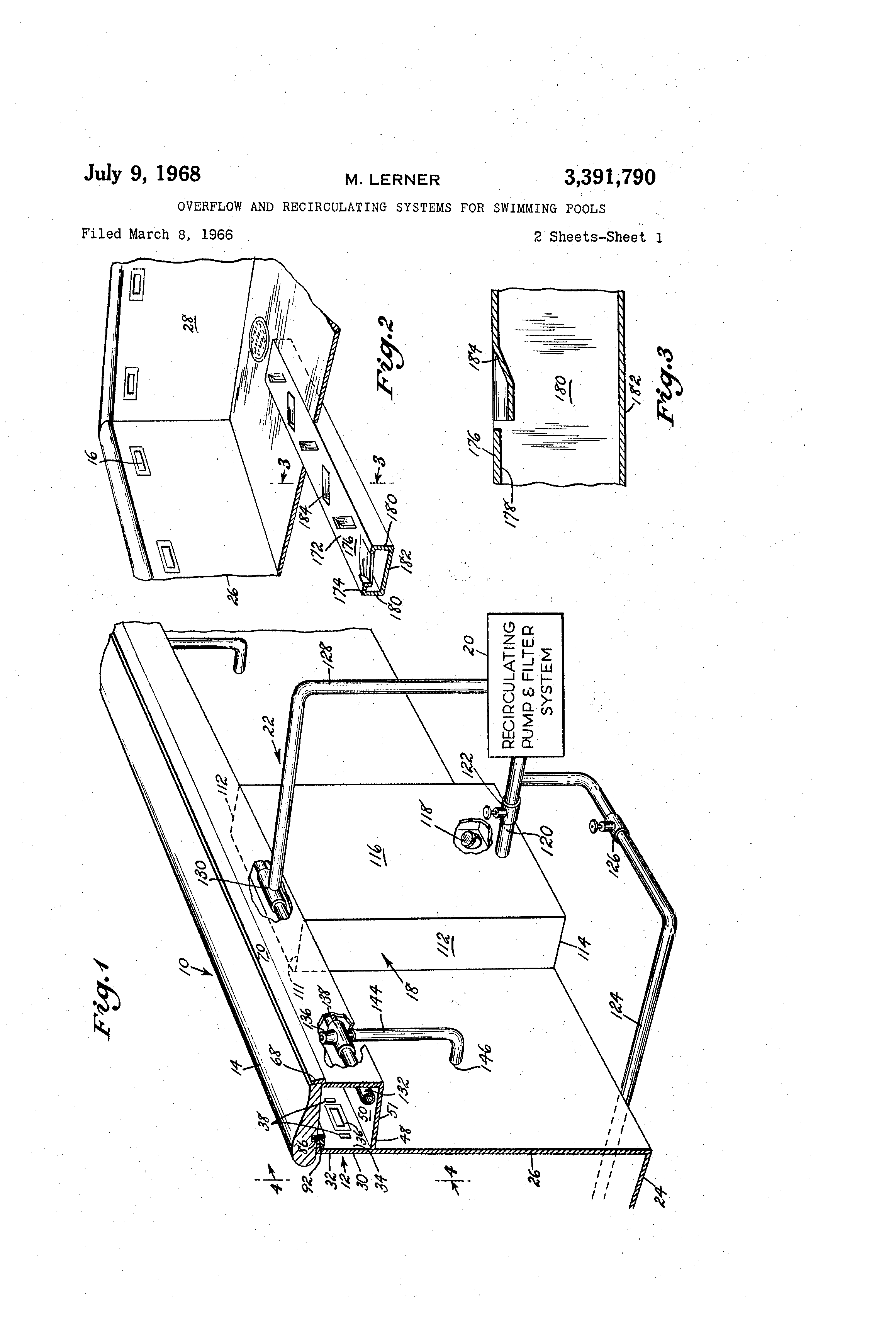 Patent Us3391790 Overflow And Recirculating Systems For Swimming Pools Google Patents