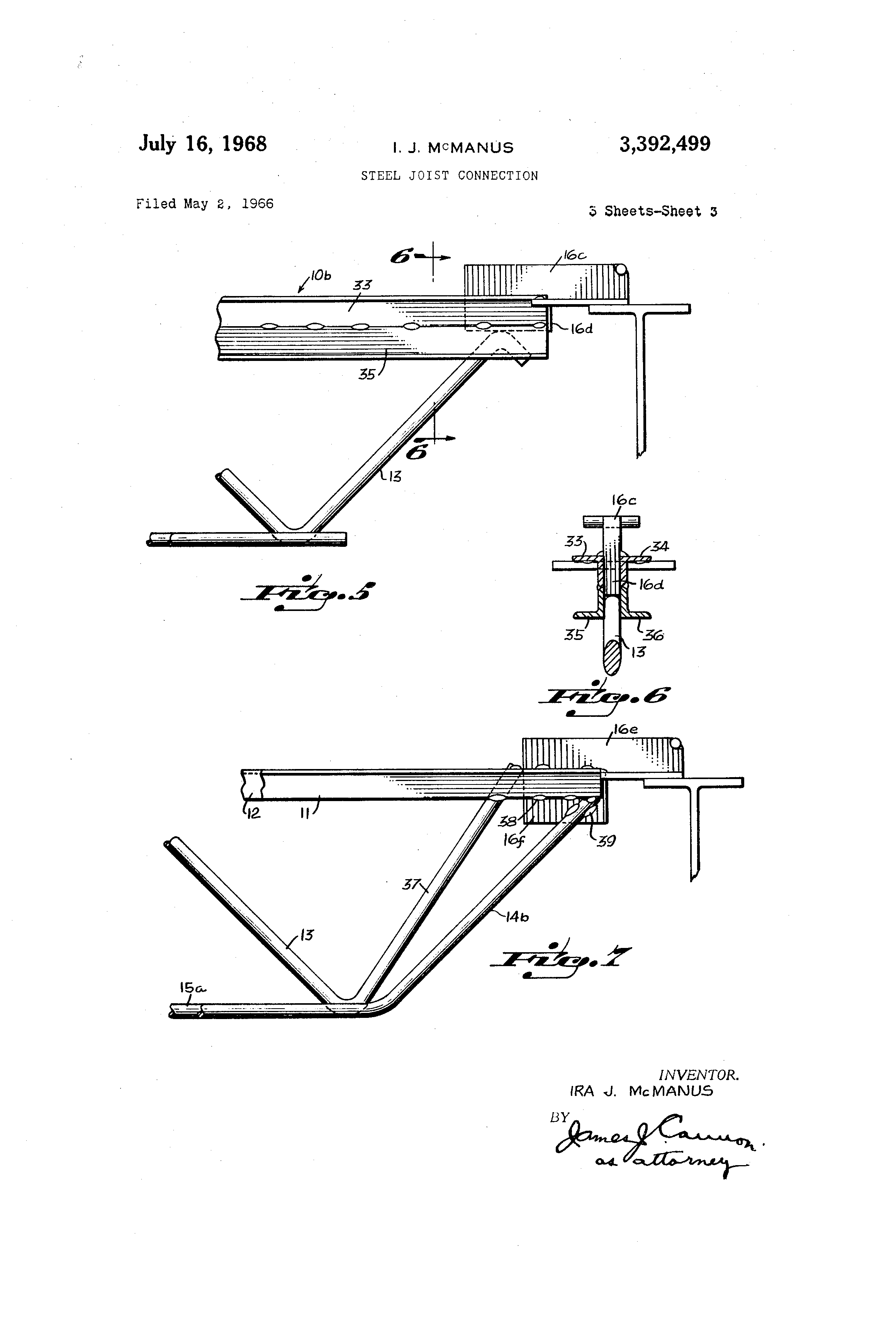 Patent Us3392499 Steel Joist Connection Google Patents