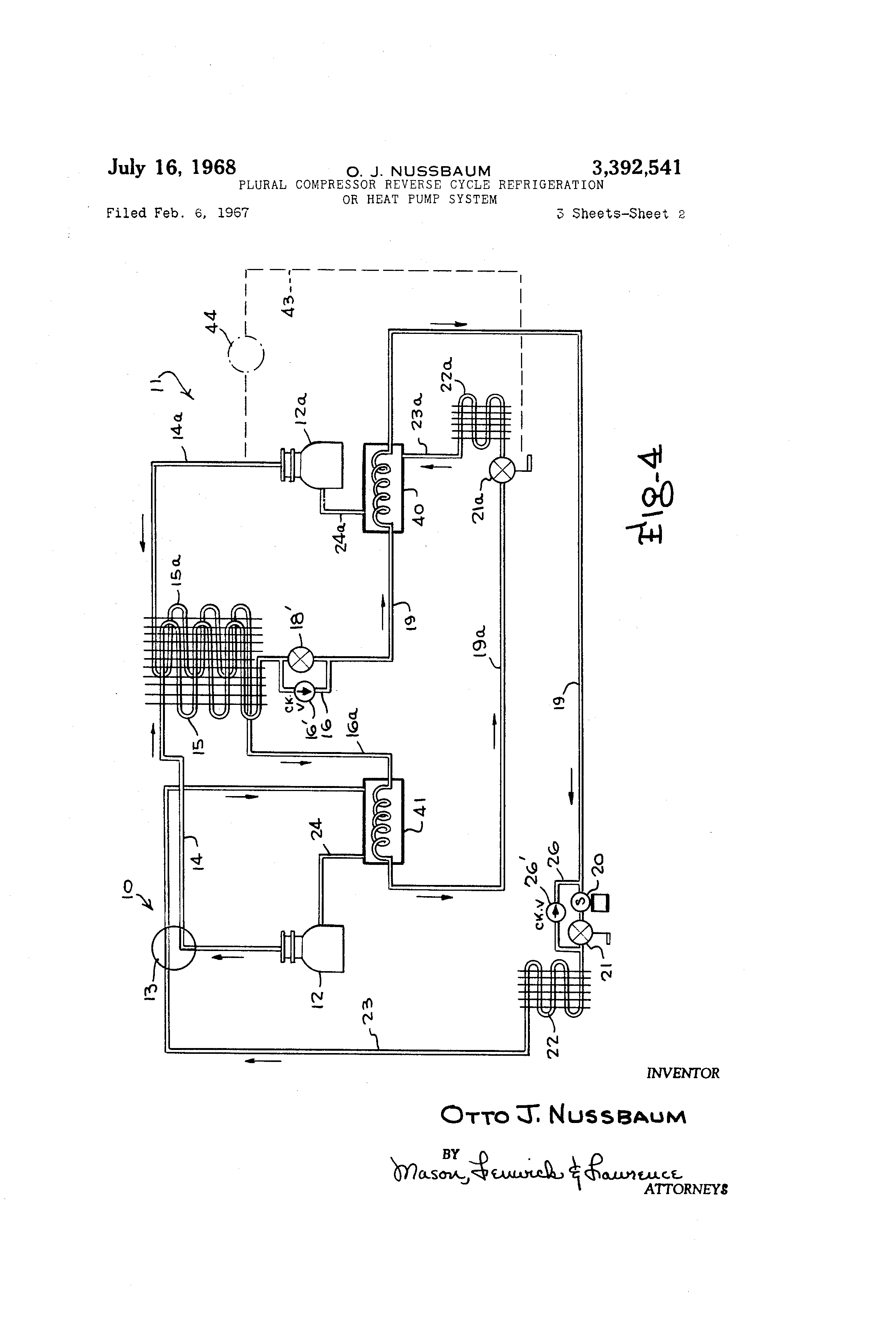 patent us3392541 - plural compressor reverse cycle refrigeration or heat pump system