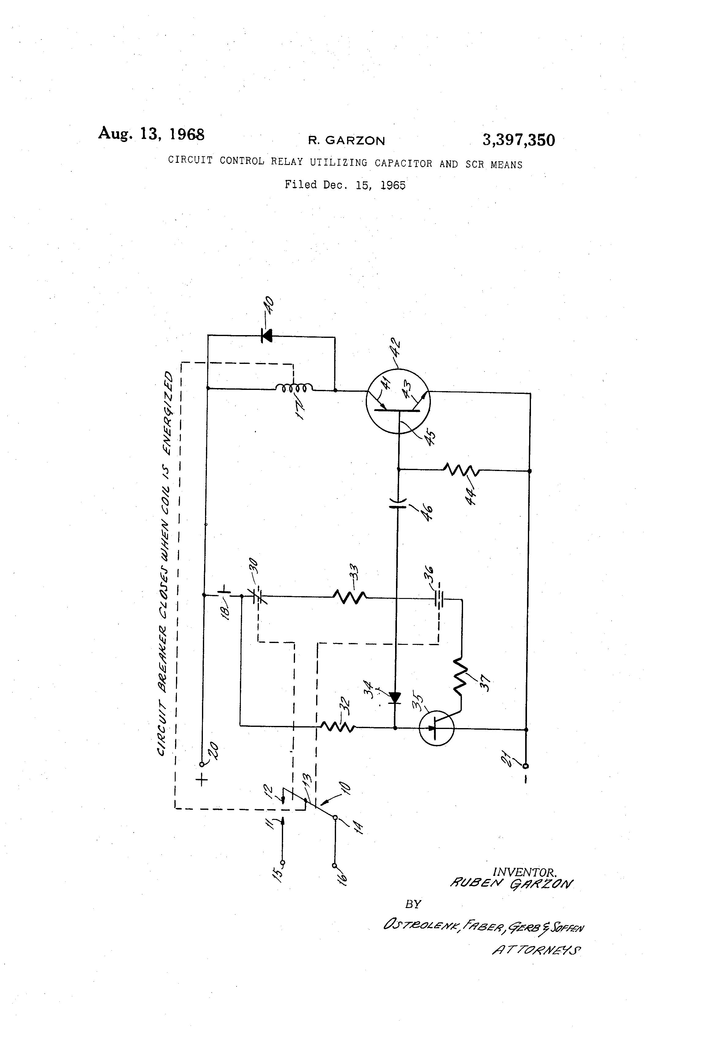 Patent Us3397350 Circuit Control Relay Utilizing Capacitor And Scr Terminal Definition Drawing