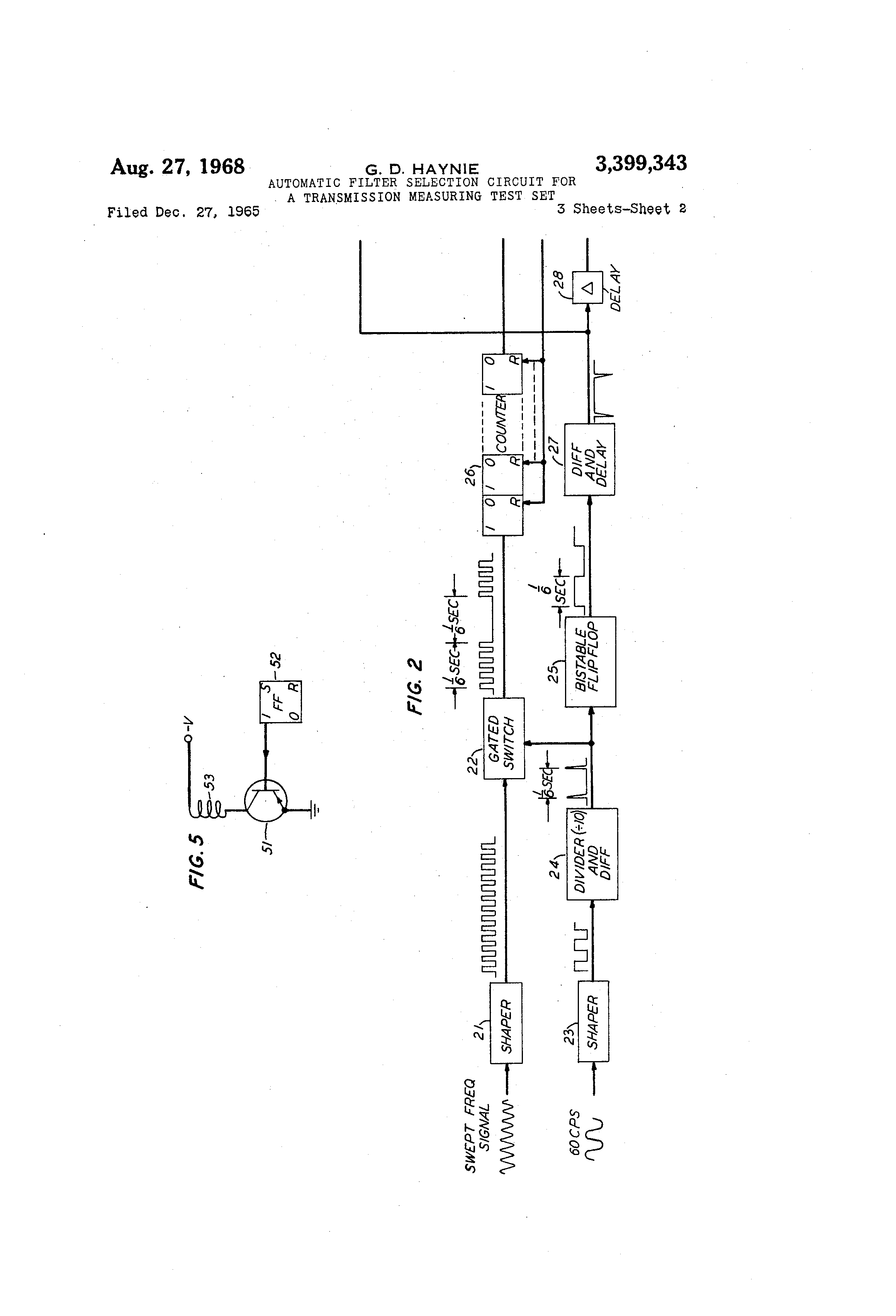 Patent Us3399343 Automatic Filter Selection Circuit For A Bistable Flip Flop Drawing