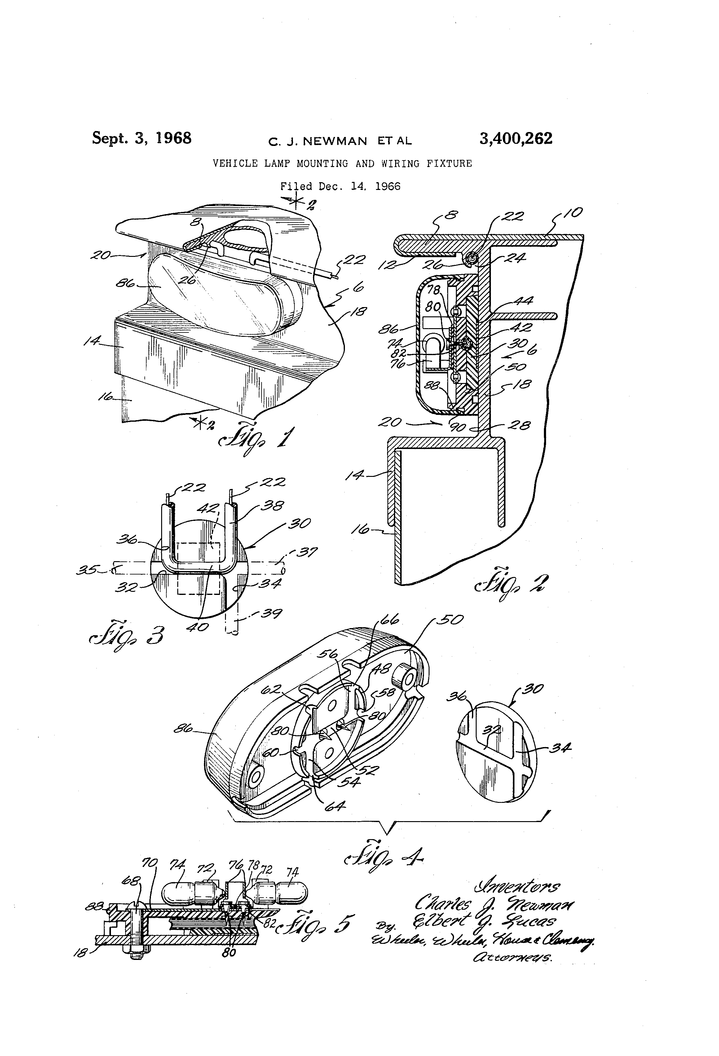 patent us3400262 - vehicle lamp mounting and wiring fixture