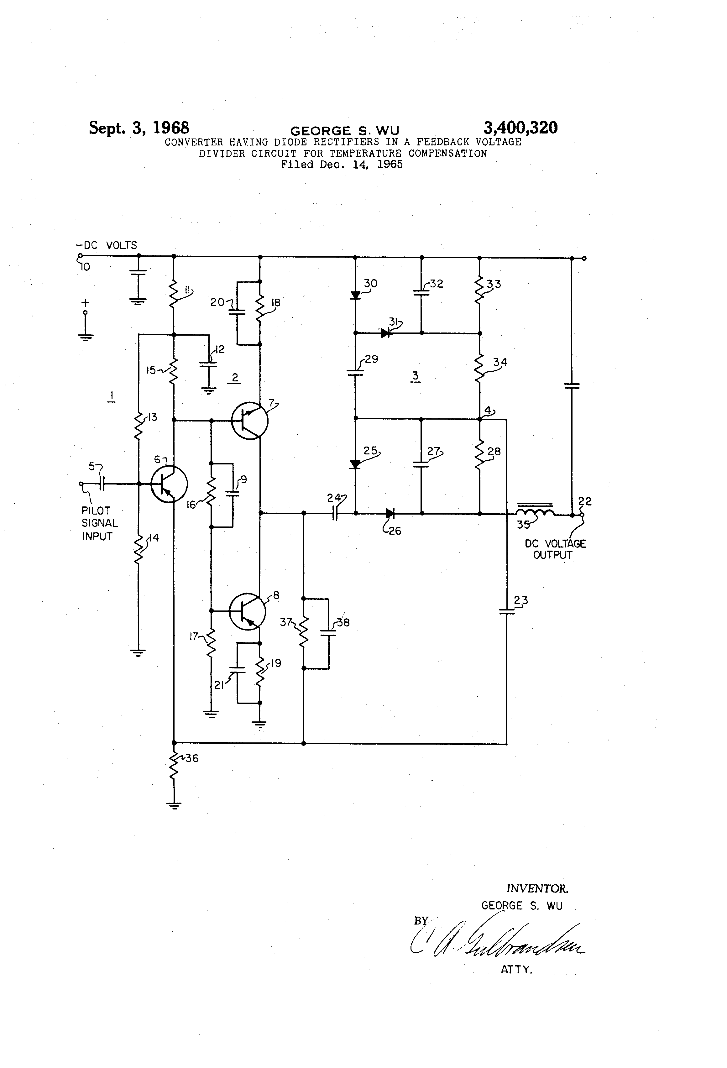 Brevet Us3400320 Converter Having Diode Rectifiers In A Feedback Voltage Divider Circuit Diagram Patent Drawing