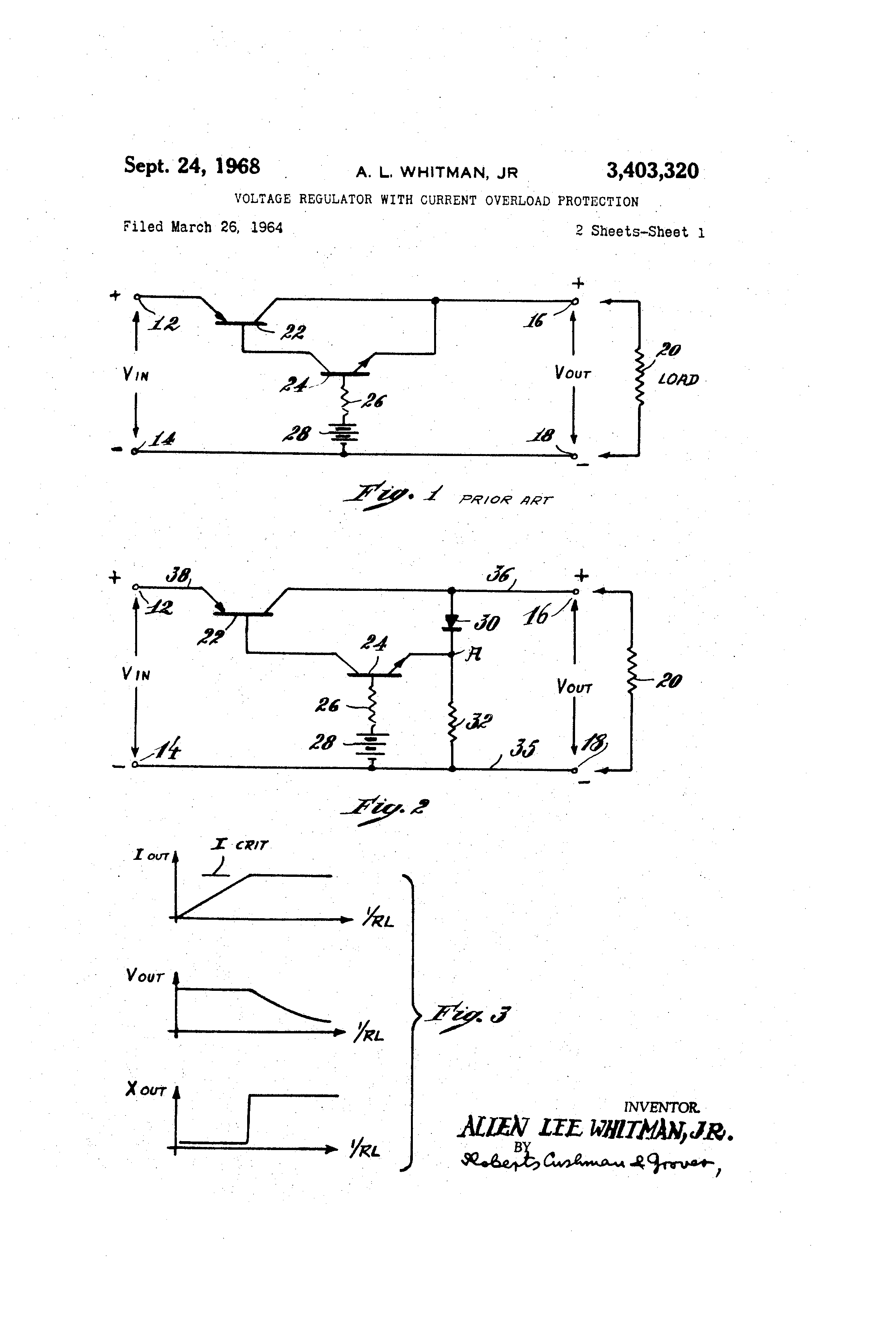 Brevet Us3403320 Voltage Regulator With Current Overload Circuit Composed Of Zener Diodes Powersupplycircuits Patent Drawing