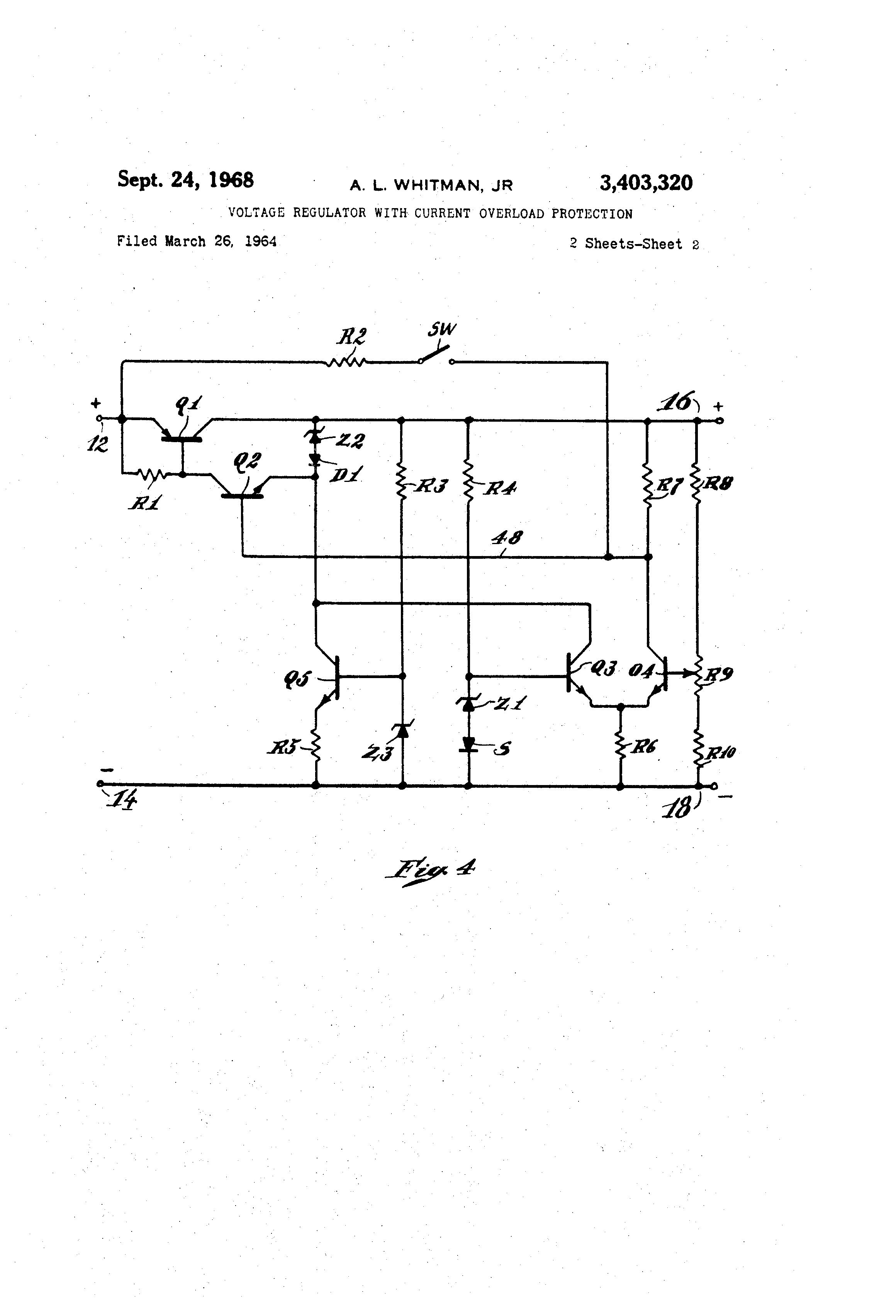 Brevet Us3403320 Voltage Regulator With Current Overload Voltregulator Negative Fixedvoltage Circuit Diagram Patent Drawing