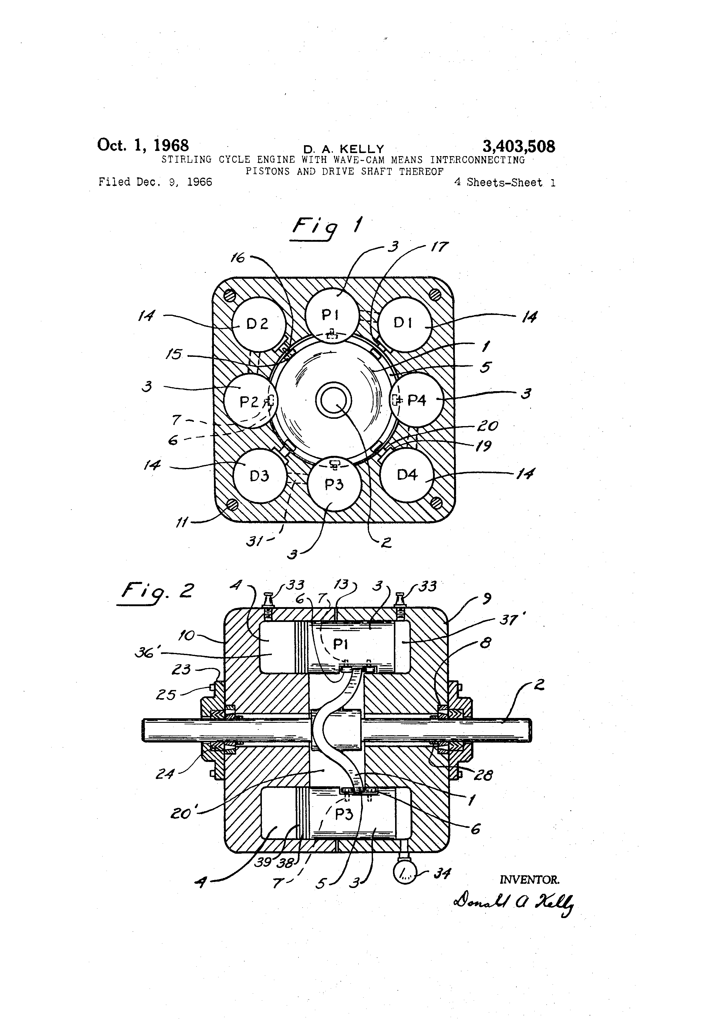 Patent Us3403508 Stirling Cycle Engine With Wave Cam Means Diagram Drawing