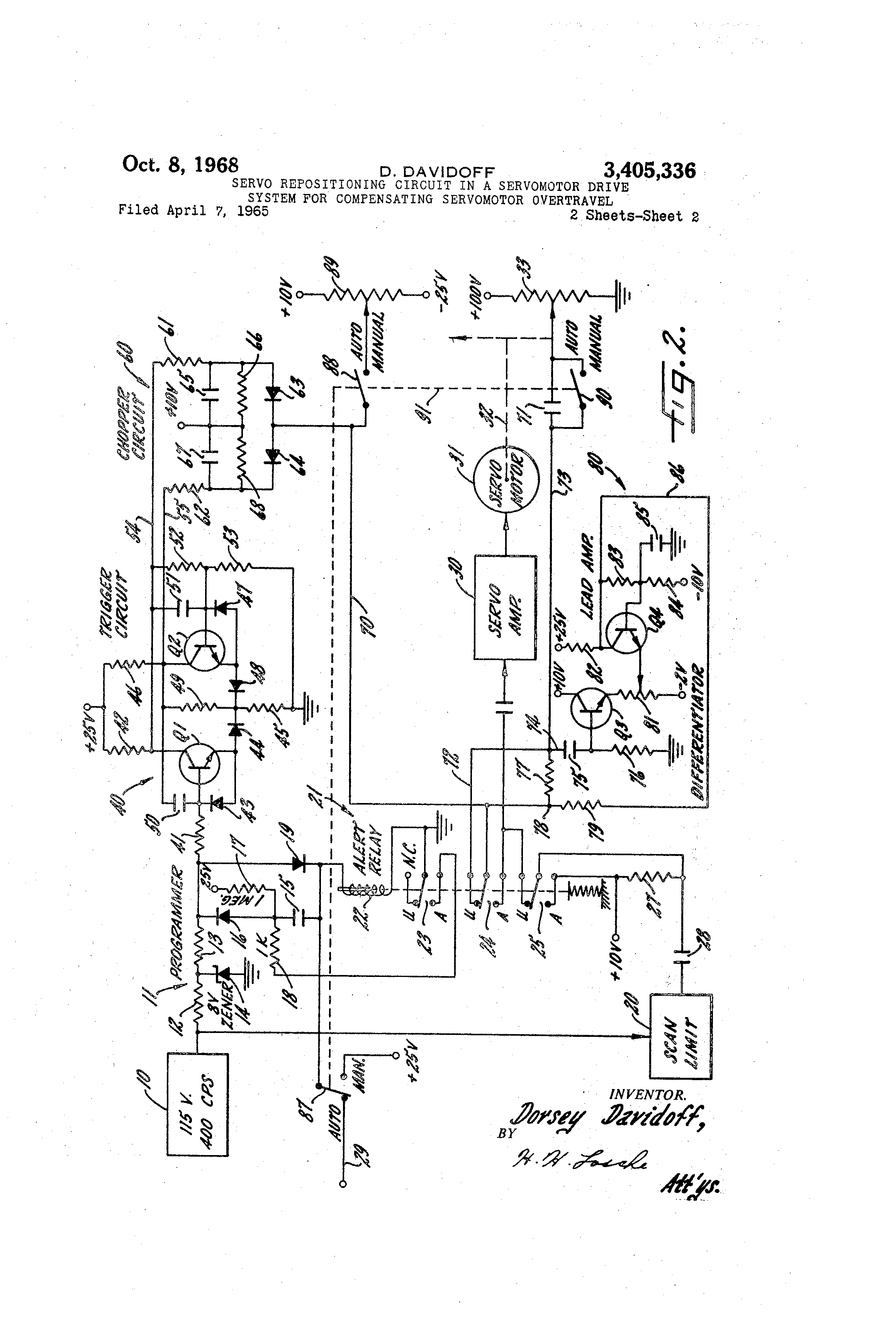 Patent Us3405336 Servo Repositioning Circuit In A Servomotor Drive Motor Diagram Drawing