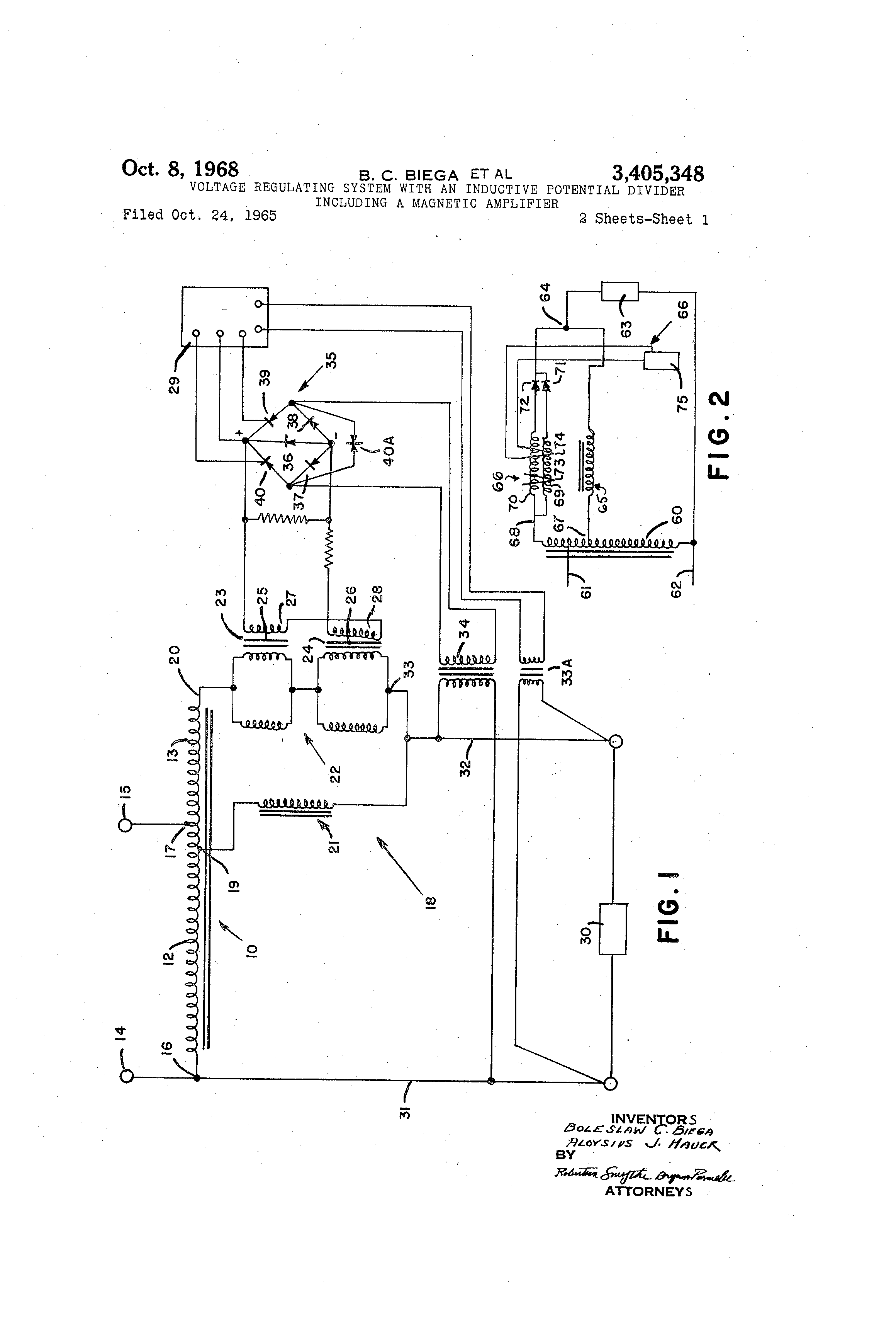 Patent Us3405348 Voltage Regulating System With An Inductive Divider Controlling Drawing