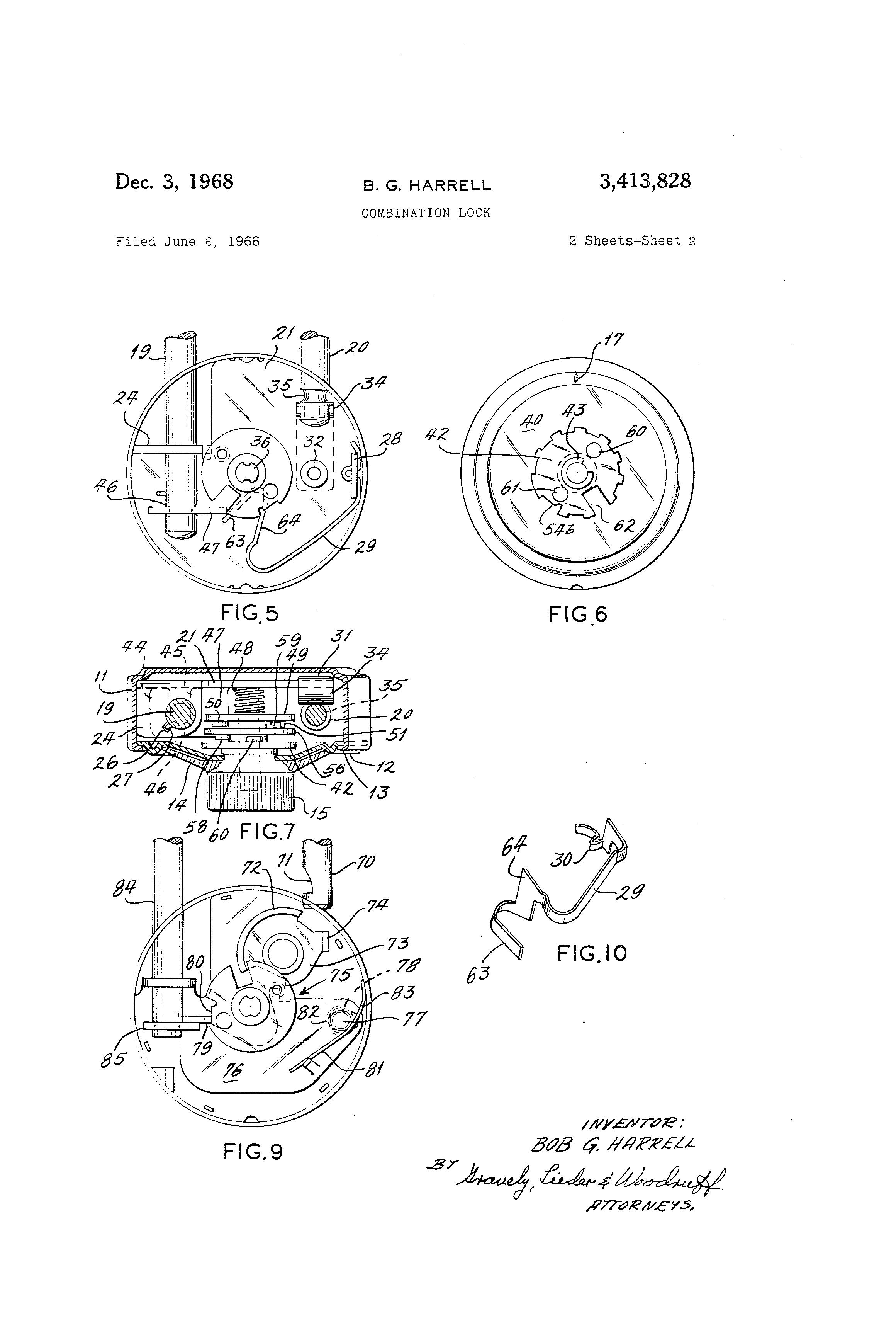 Patent Us3413828 Combination Lock Google Patents Diagram Drawing