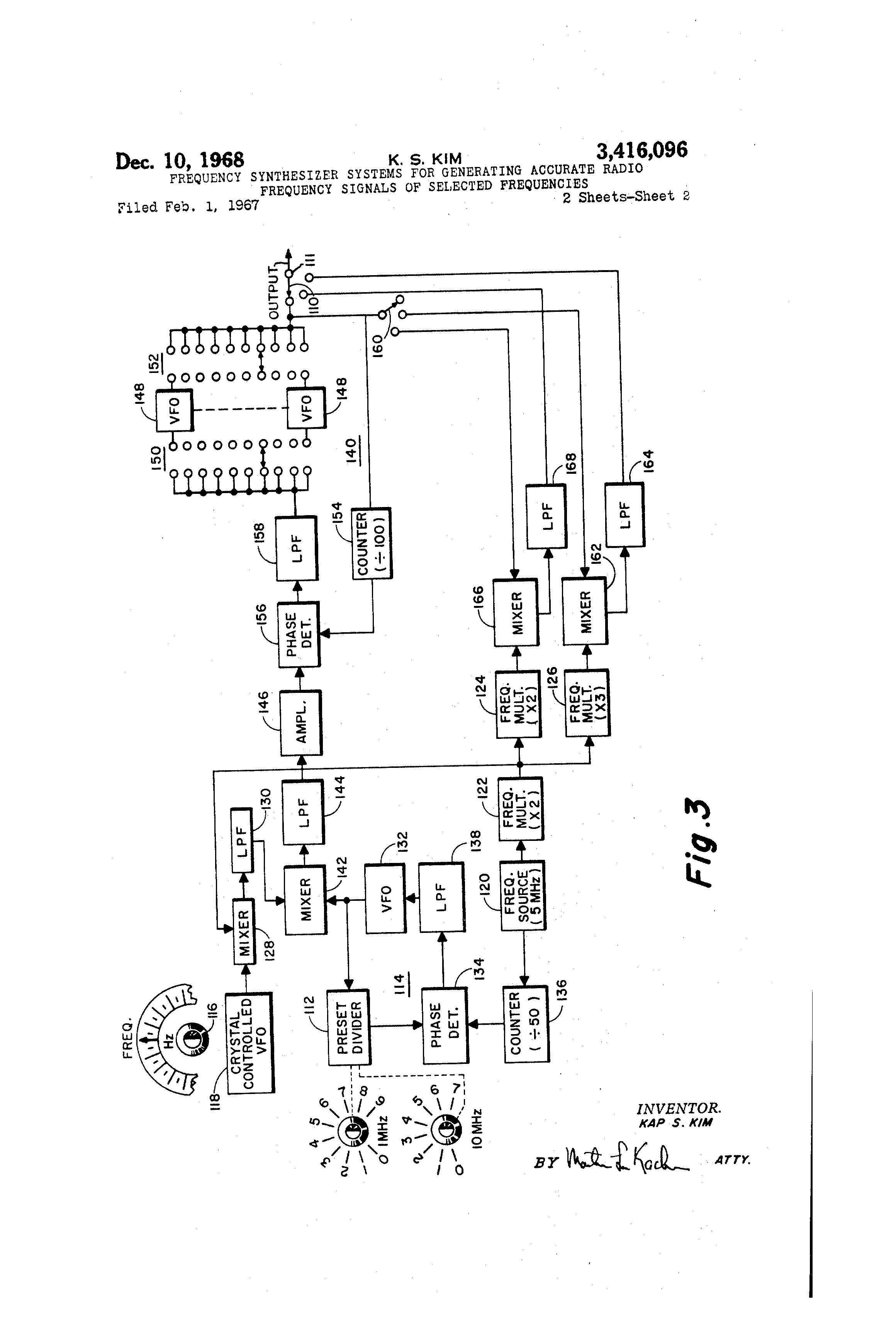 Brevet Us3416096 Frequency Synthesizer Systems For Generating 2 Mhz Standard With Dividers Patent Drawing