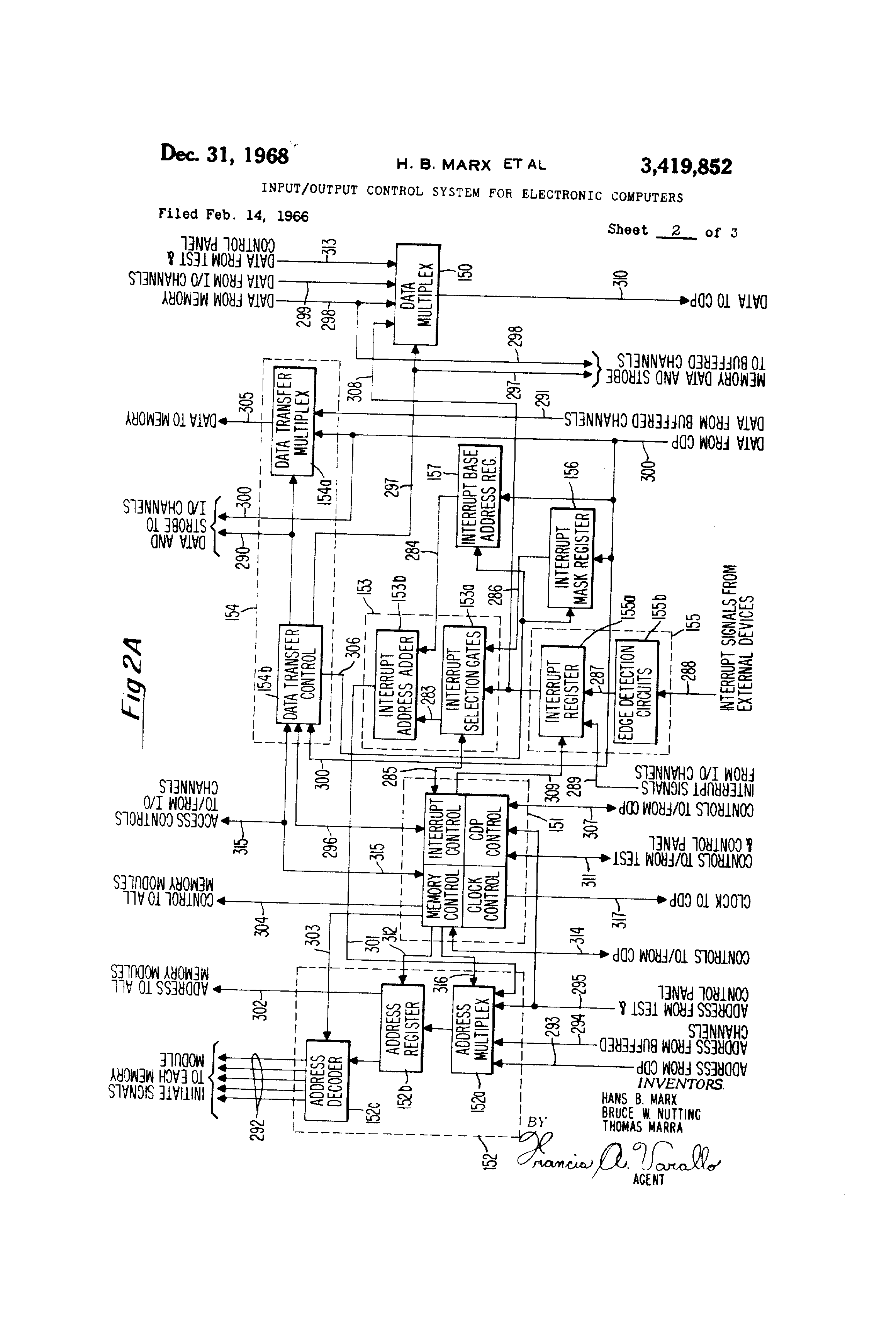 Patent US3419852 - Input/output control system for electronic ...