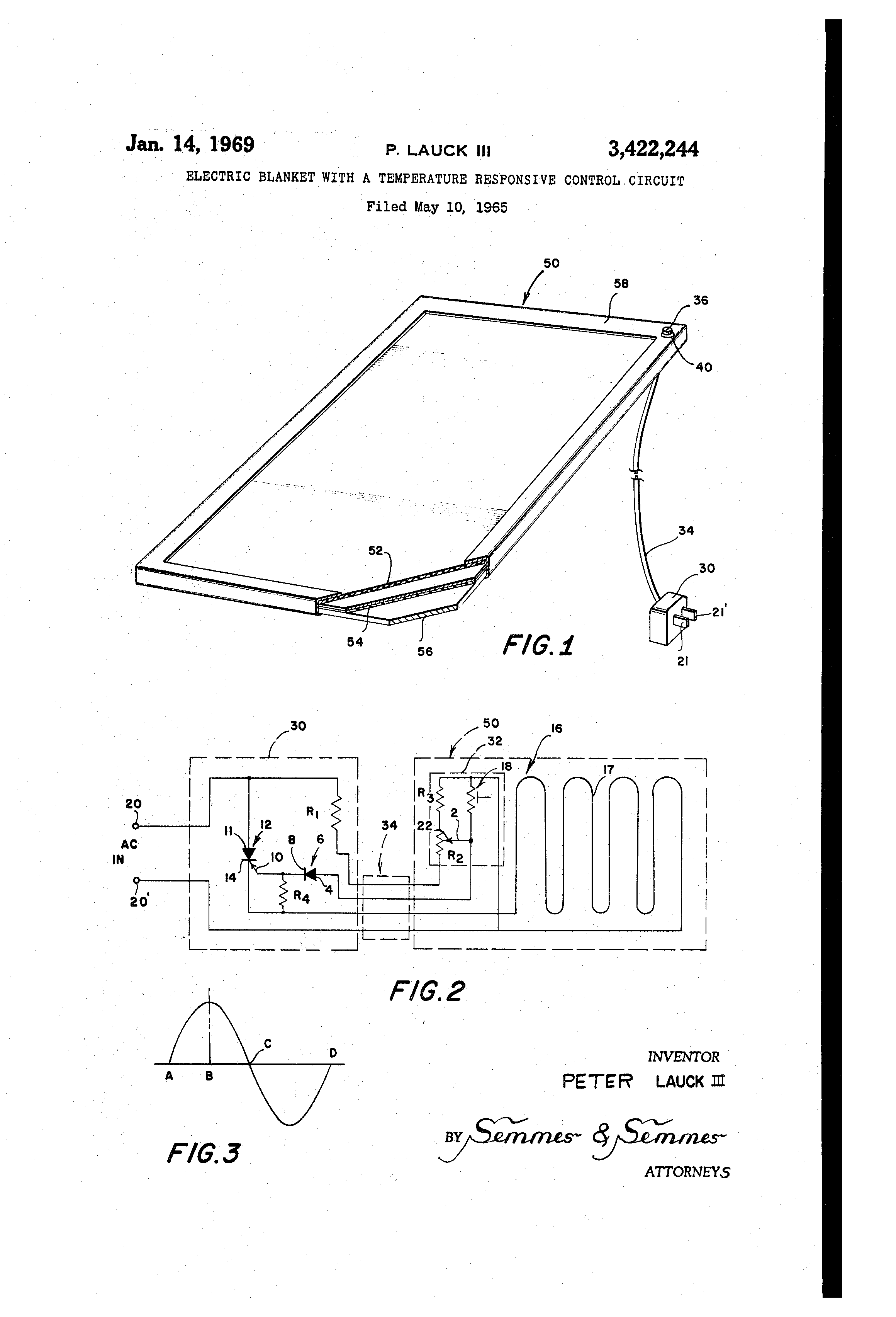 Patent US3422244 Electric blanket with a temperature