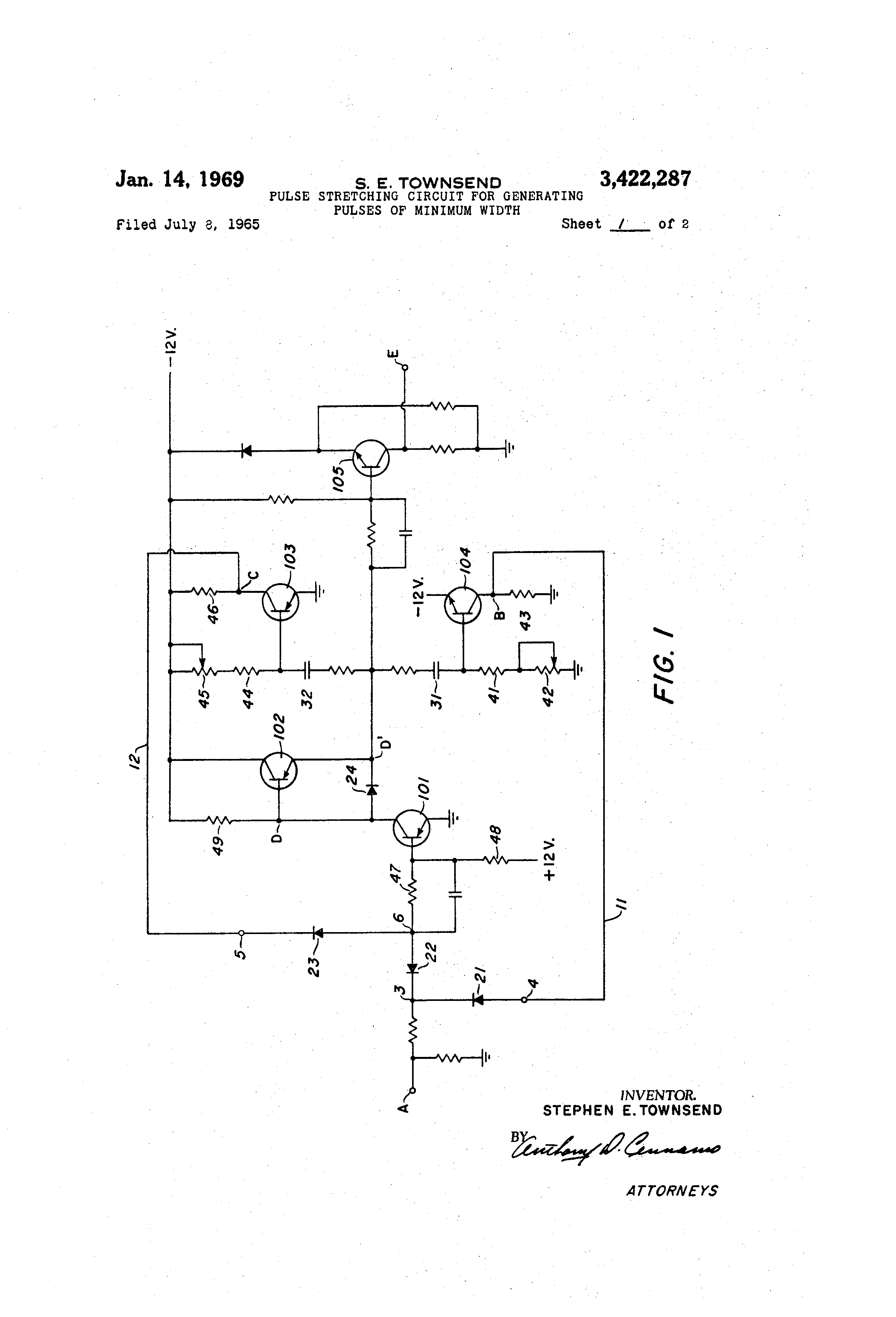 Patent Us3422287 Pulse Stretching Circuit For Generating Pulses Of Often Called A One Shot Multivibrator Is Drawing