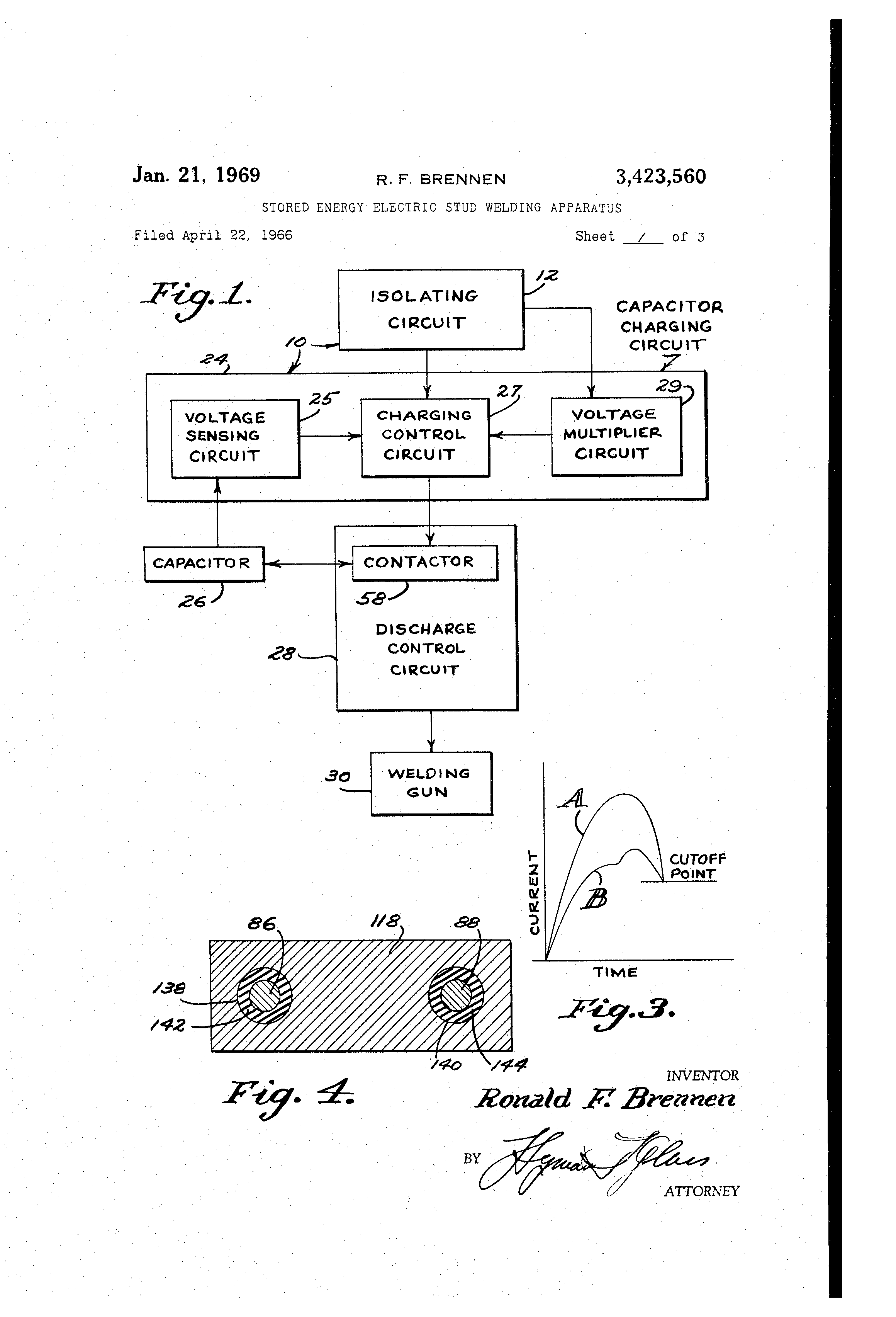 Patent Us3423560 Stored Energy Electric Stud Welding Apparatus Capacitor Charging Circuit Drawing