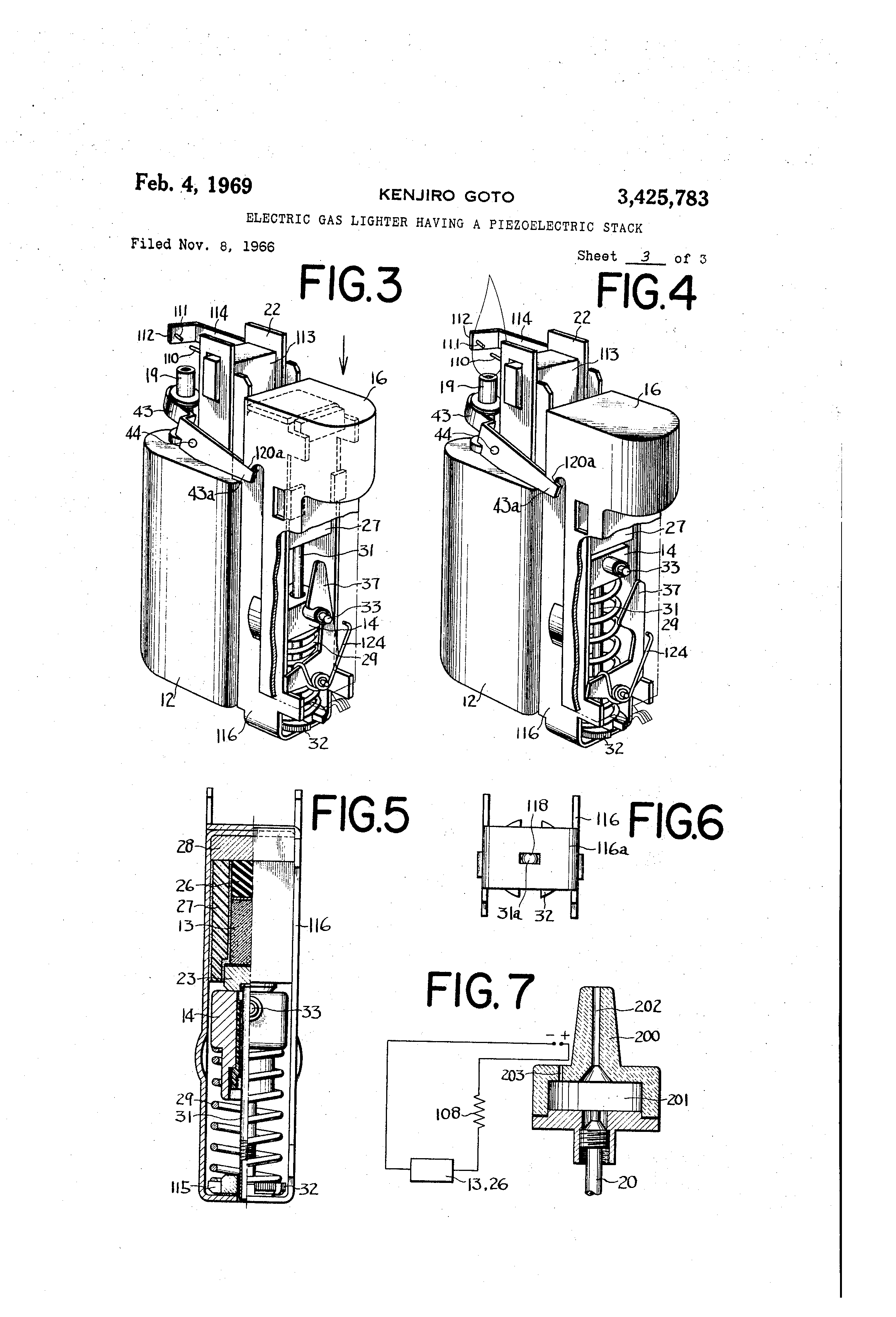 patent us3425783 - electric gas lighter having a piezoelectric stack