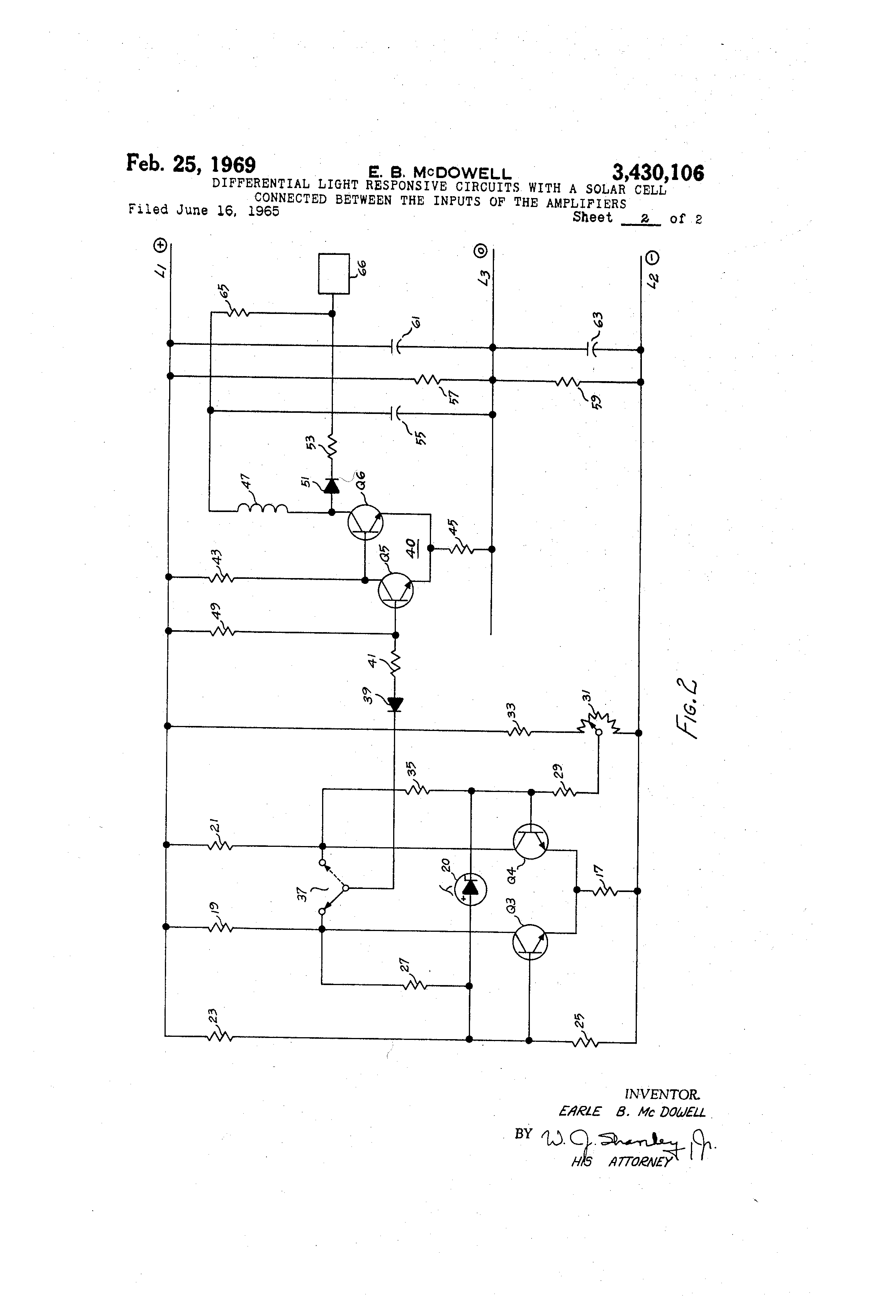 Patent Us3430106 Differential Light Responsive Circuits With A Solar Cell Series Drawing
