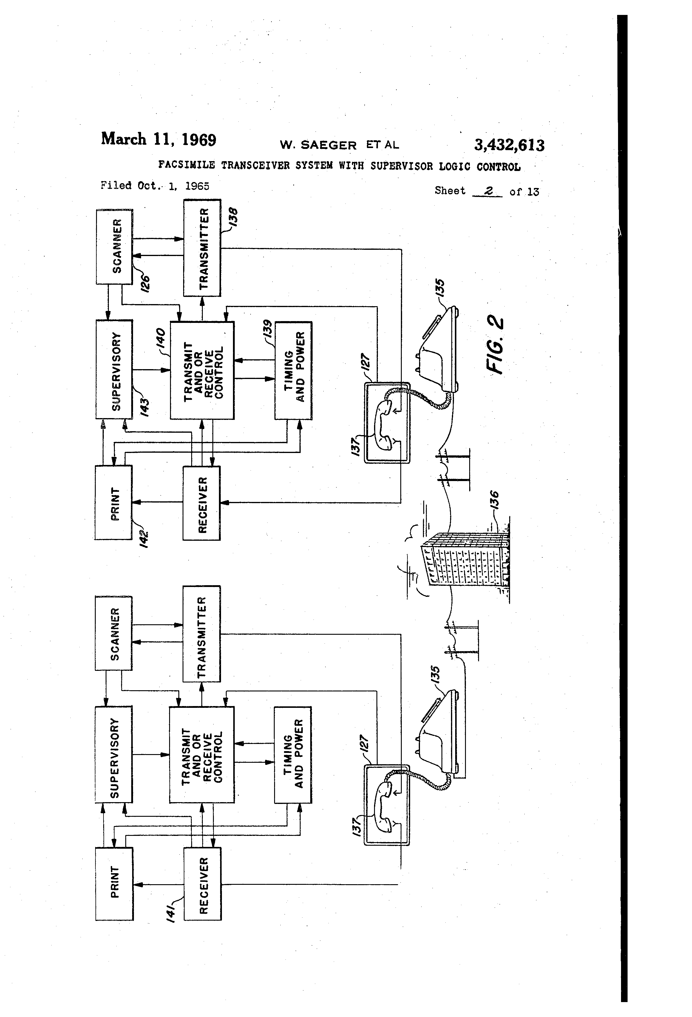 Patent Us3432613 Facsimile Transceiver System With Supervisor Logic Control Diagram Drawing