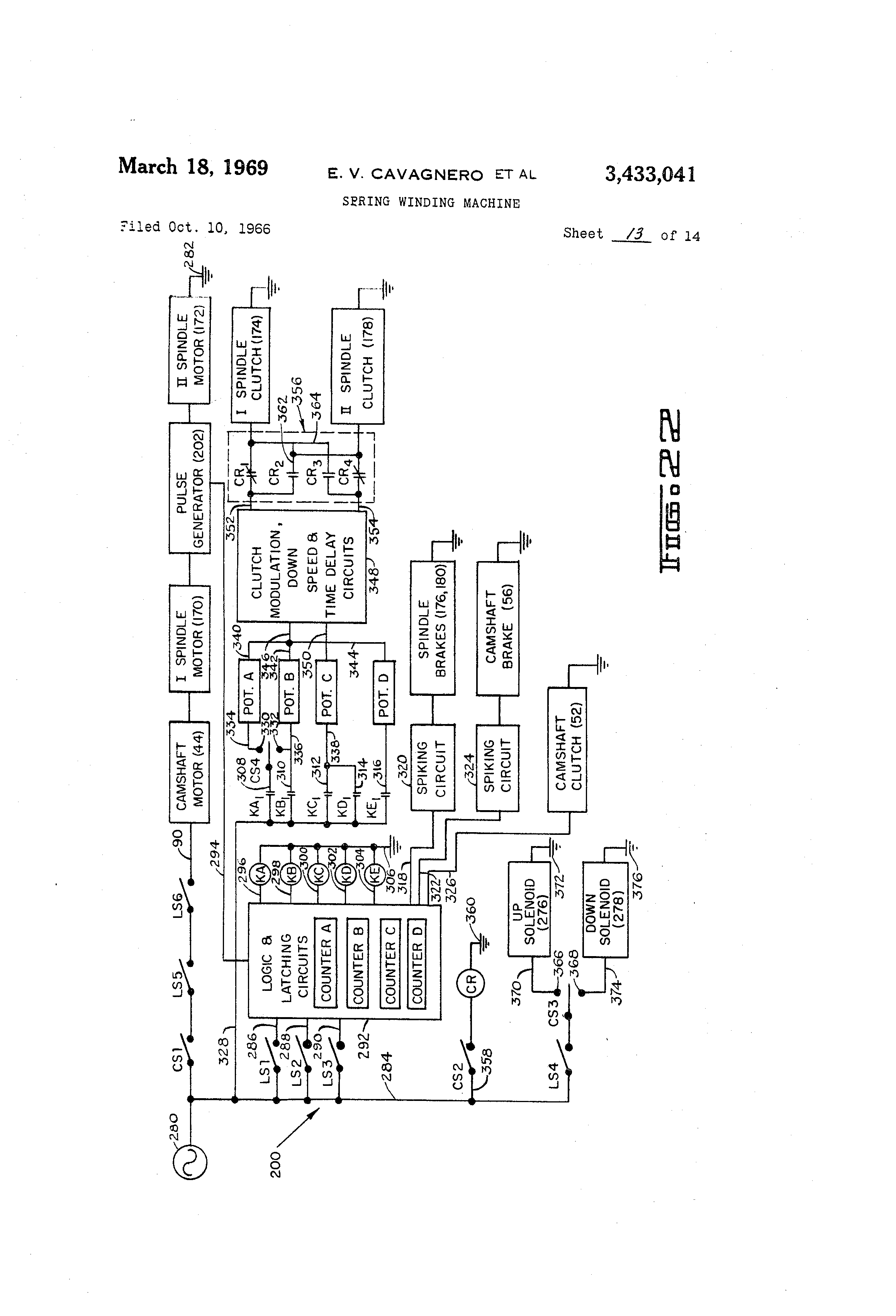 Brevet Us3433041 Spring Winding Machine Google Brevets Time Delay Circuit Diagram Patent Drawing